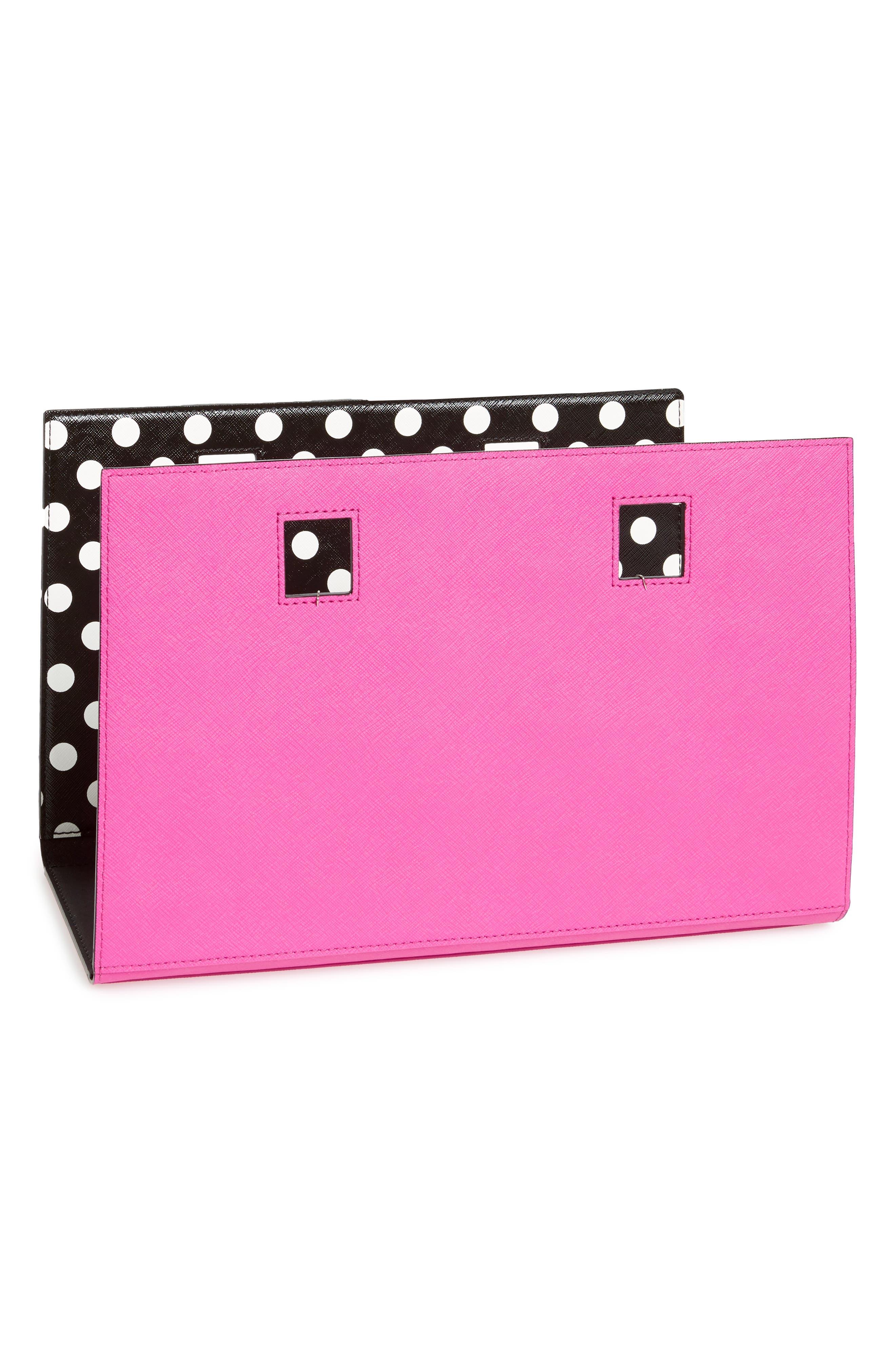 make it mine reversible polka dot/solid leather snap-on accent flap,                             Alternate thumbnail 2, color,                             Blk/ Vivdsn