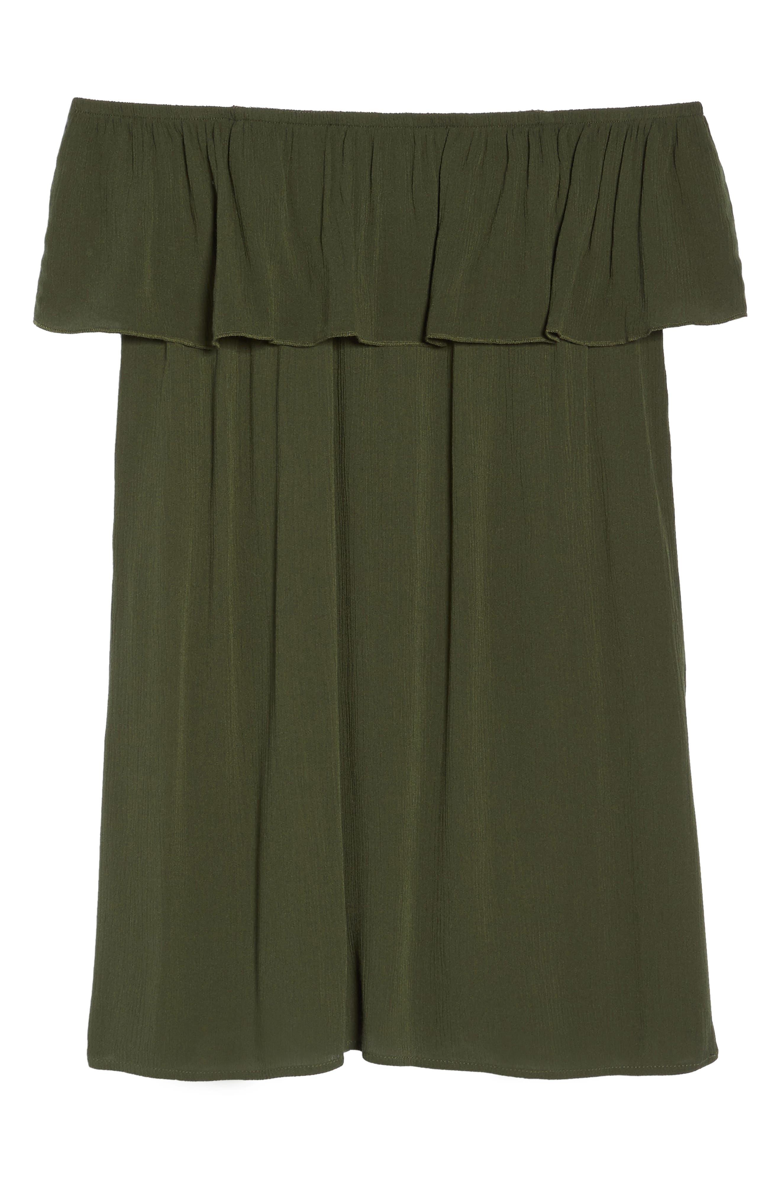 Southern Belle Off the Shoulder Cover-Up Dress,                             Alternate thumbnail 6, color,                             Bay Leaf