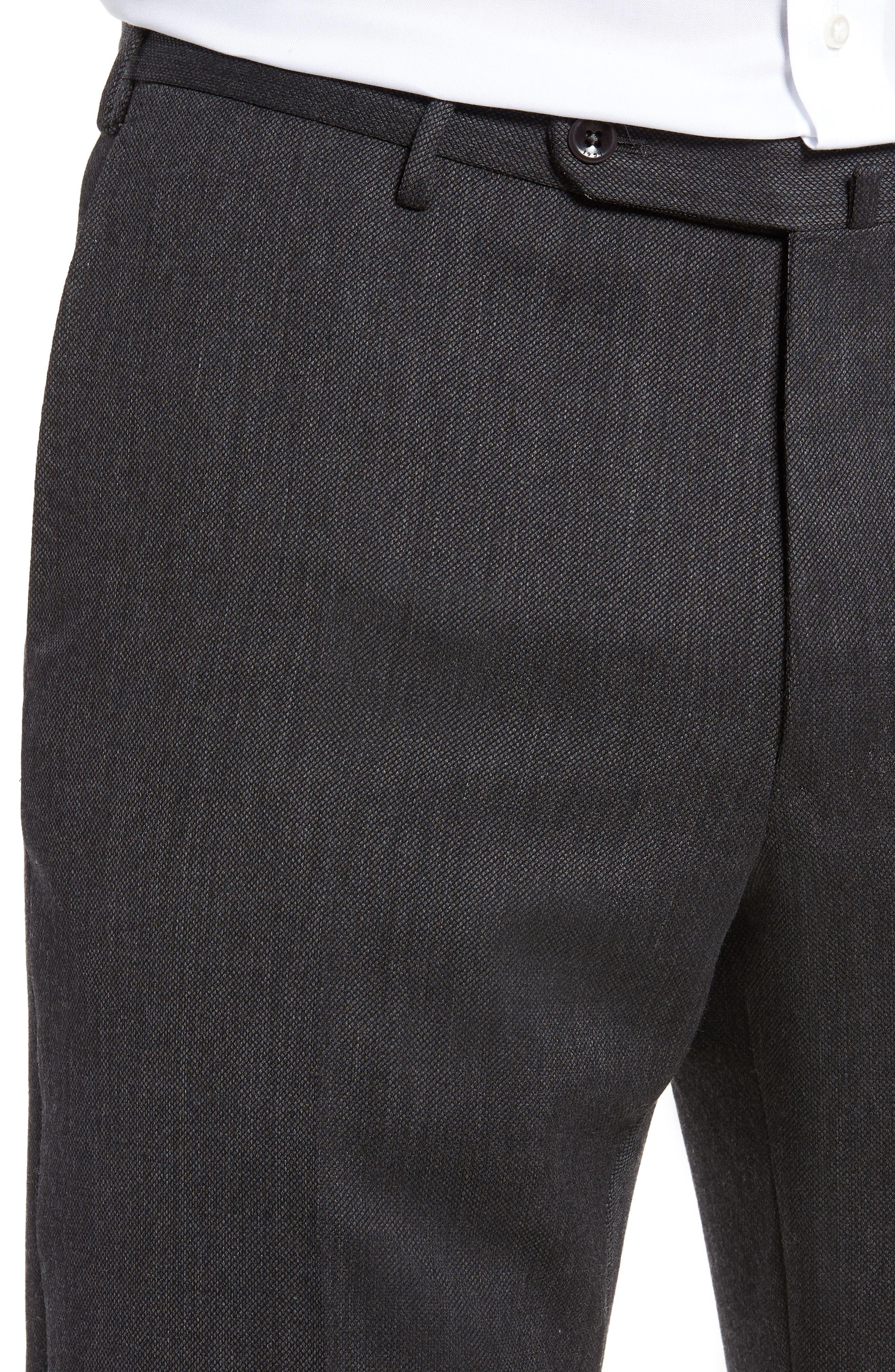 Benson Flat Front Wool Blend Trousers,                             Alternate thumbnail 5, color,                             Dark Grey