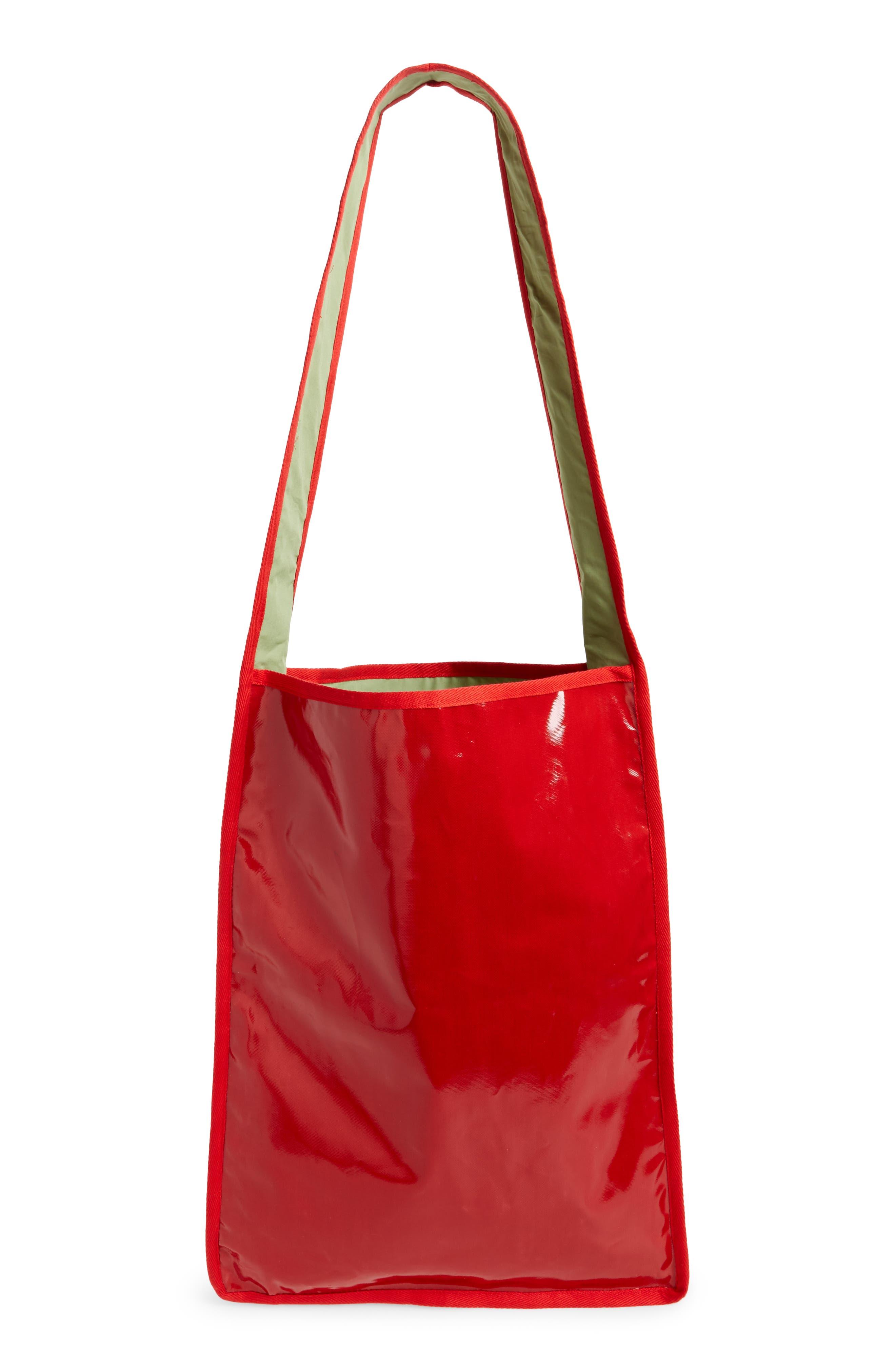 Hand Print Long Messenger Bag,                             Alternate thumbnail 3, color,                             Floral Print/Red