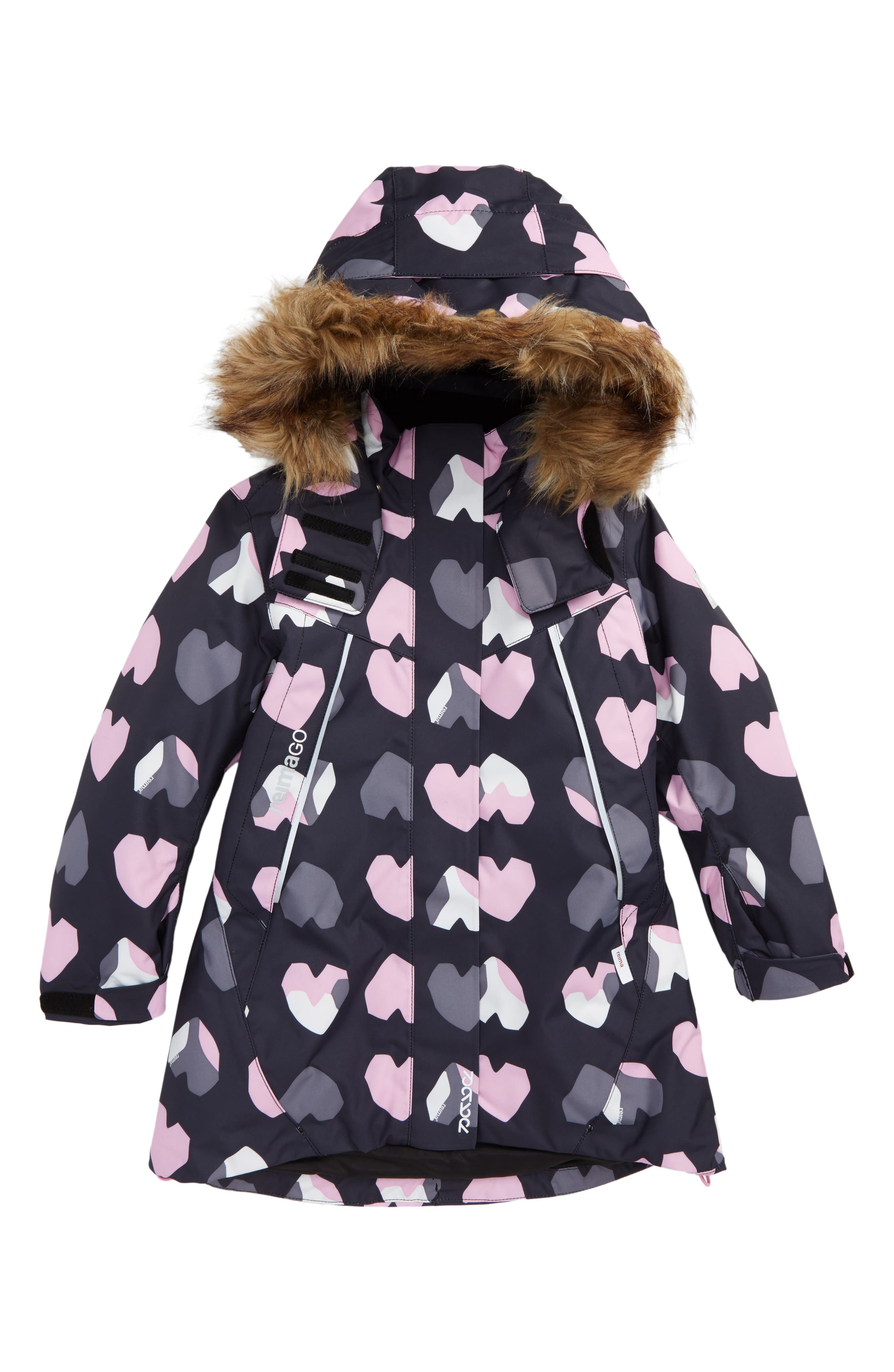 Main Image - Reima Reimatec® Waterproof Hooded A-Line Jacket with Faux Fur Trim (Toddler Girls & Little Girls)