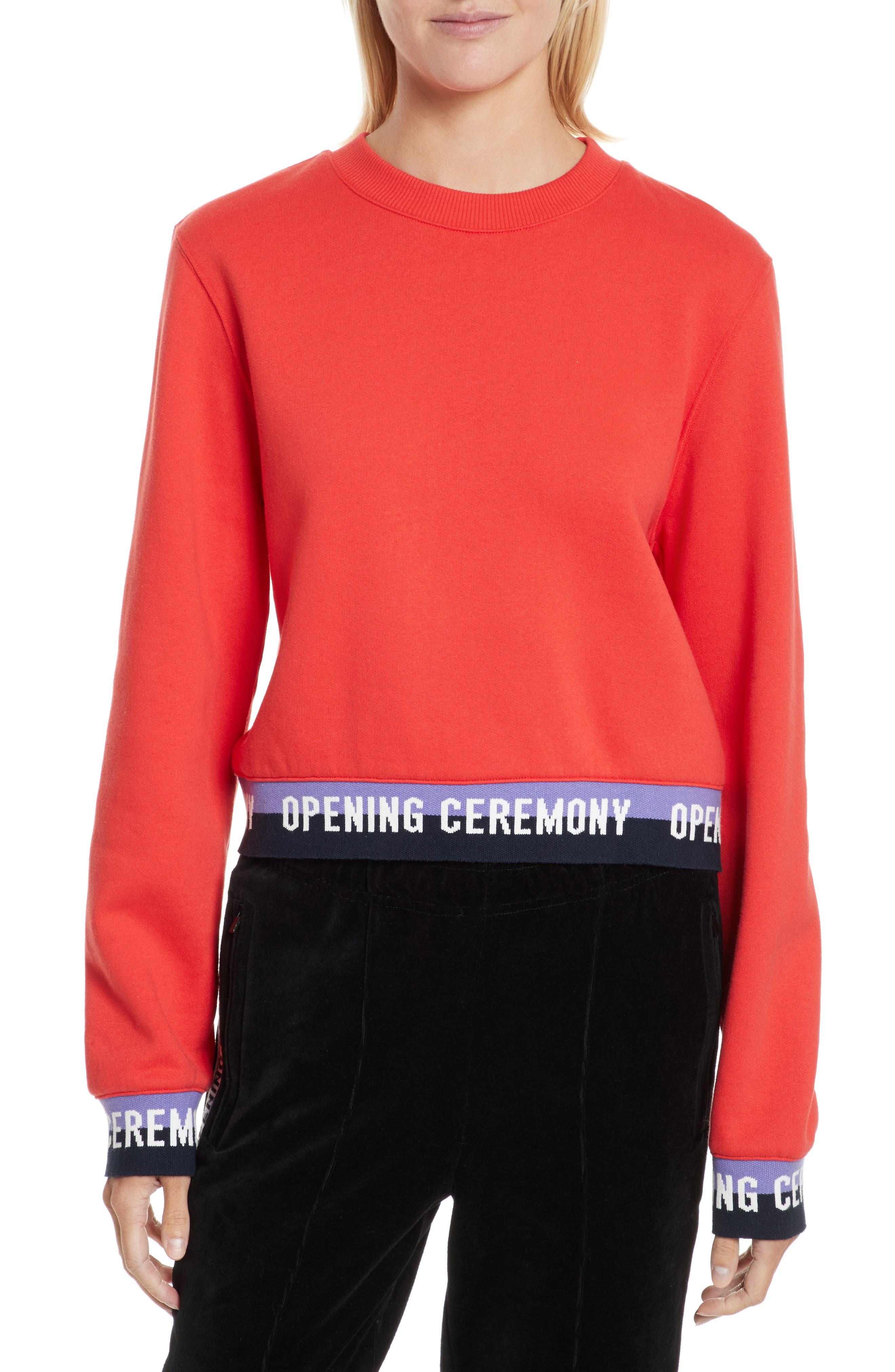 Elastic Logo Crop Sweatshirt,                         Main,                         color, Red