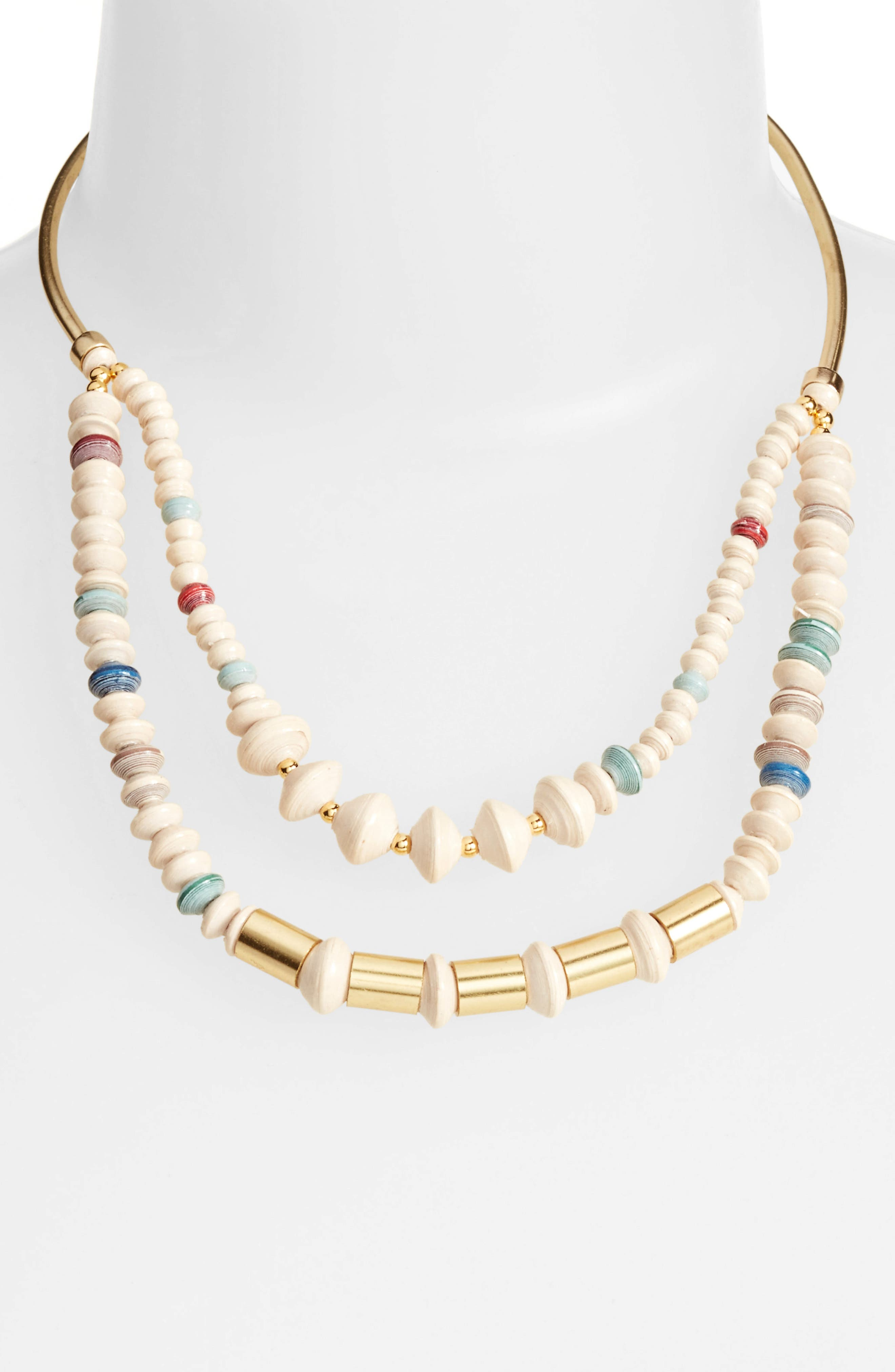 Goldsweep Paper Bead Necklace,                         Main,                         color, Cream