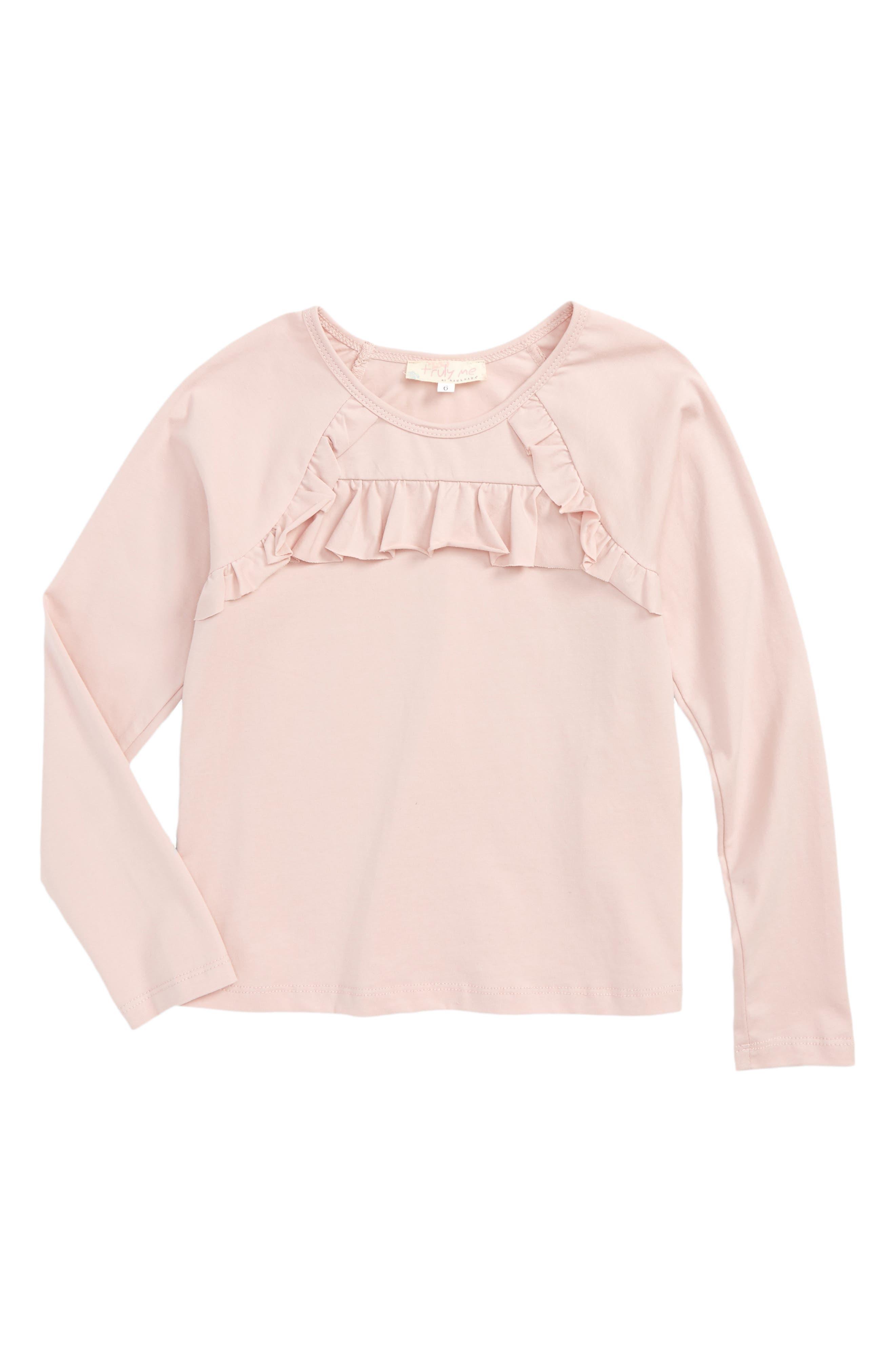 Main Image - Truly Me Ruffle Trim Tee (Toddler Girls & Little Girls)