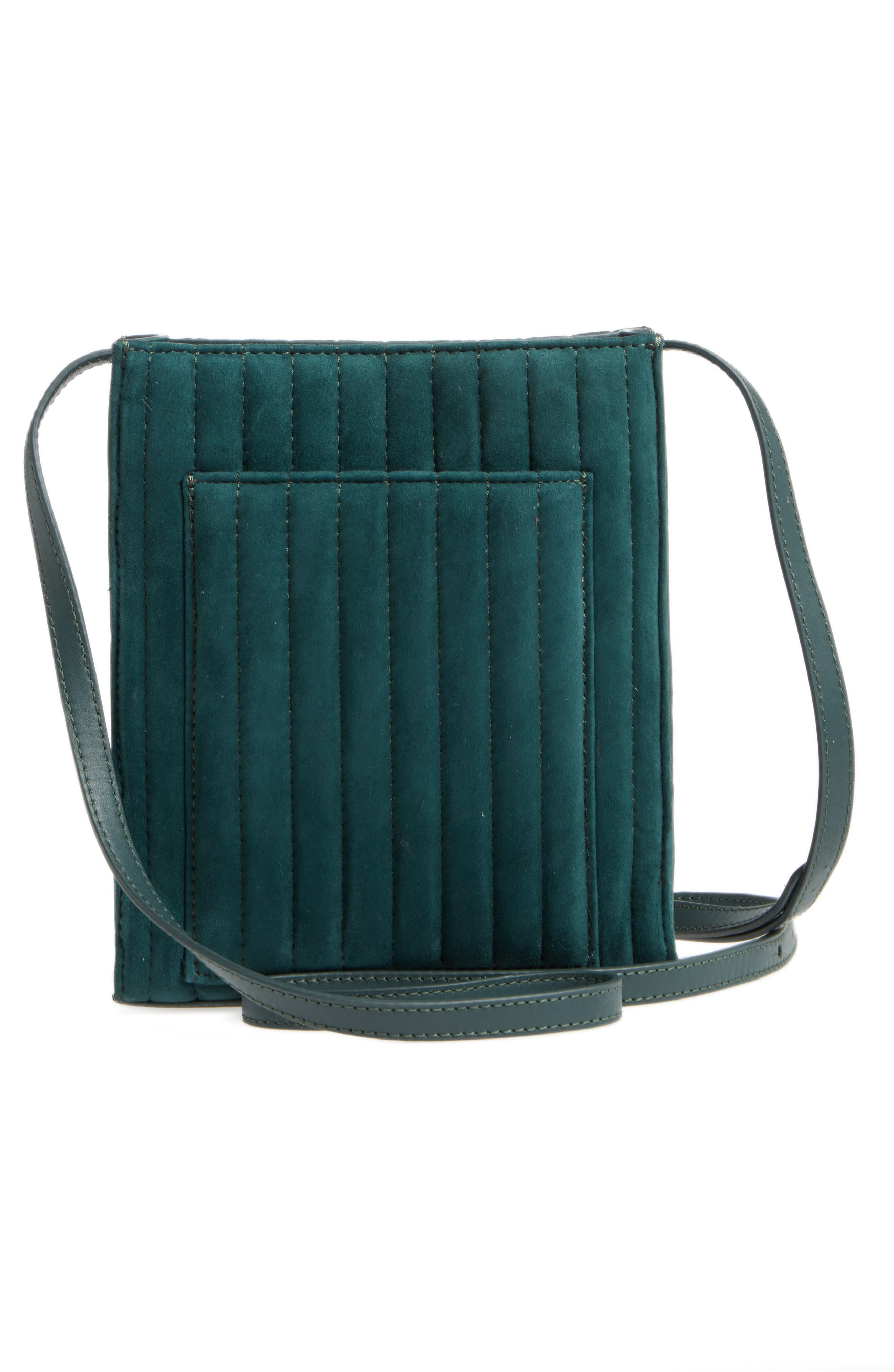 Camden Leather Crossbody Bag,                             Alternate thumbnail 3, color,                             Ink Green Quilted