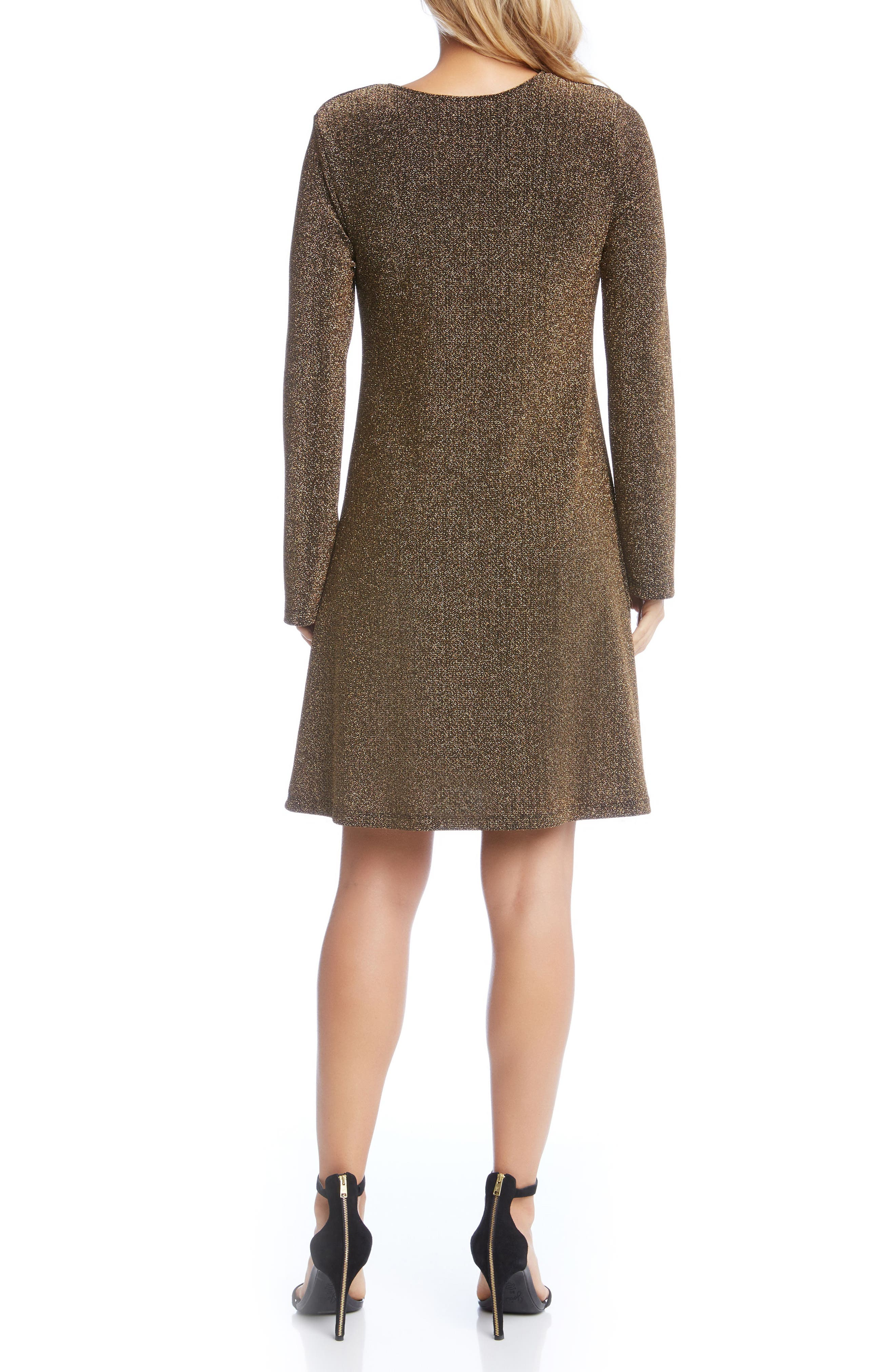 Gold Knit Taylor Dress,                             Alternate thumbnail 2, color,                             Gold
