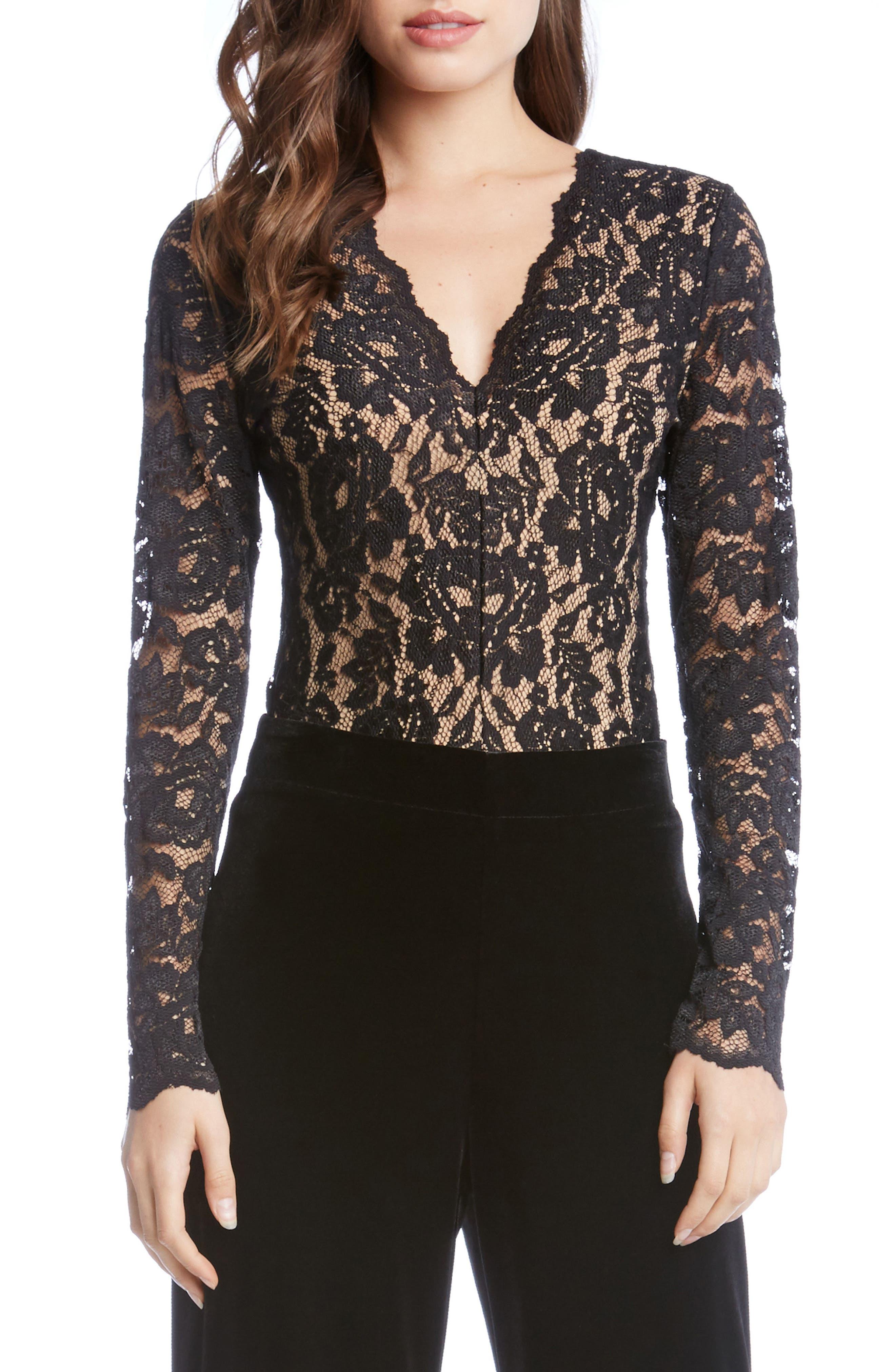 Scallop Lace Bodysuit,                         Main,                         color, Black