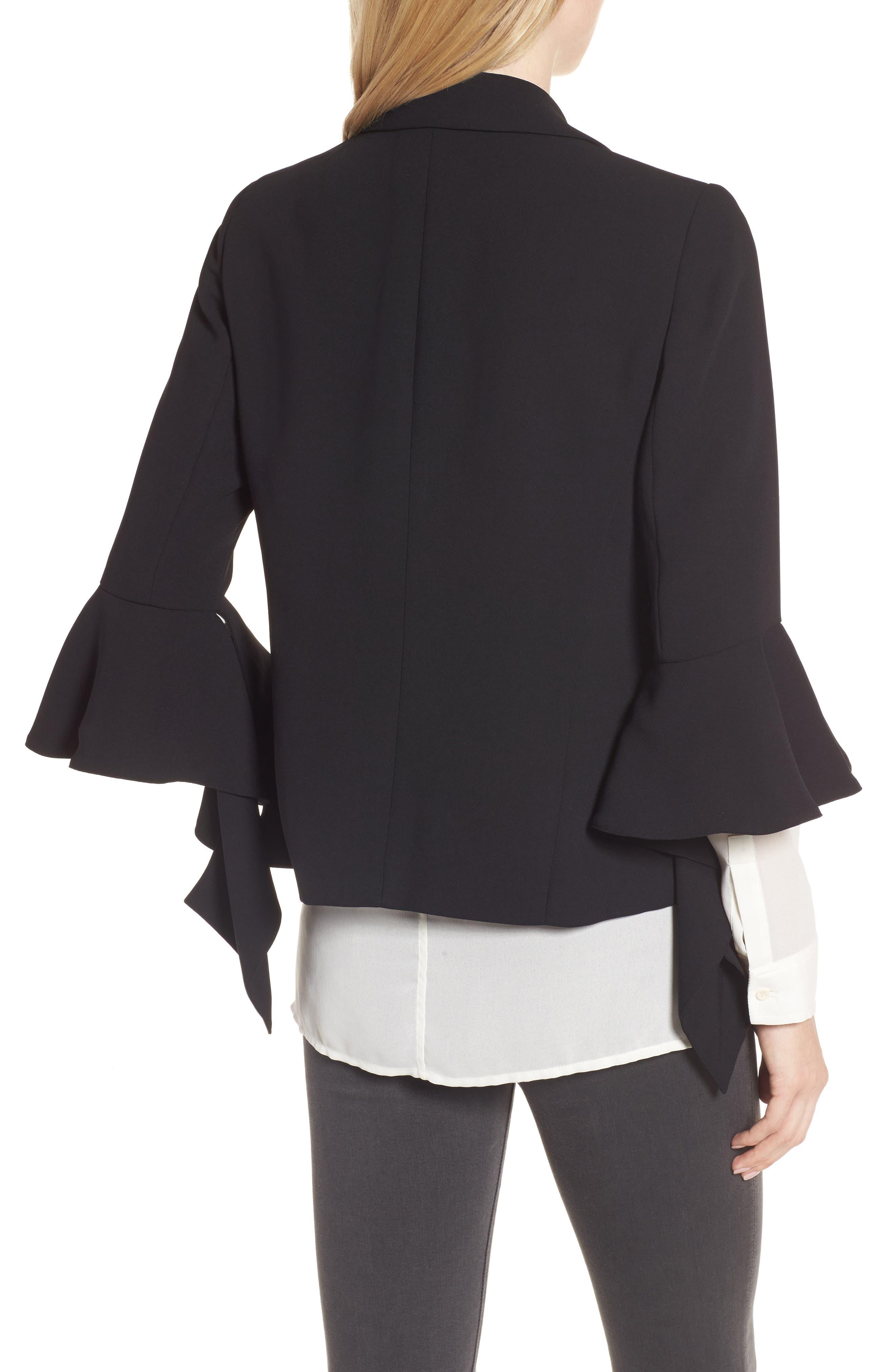 Ruffle Sleeve Blazer,                             Alternate thumbnail 2, color,                             Black