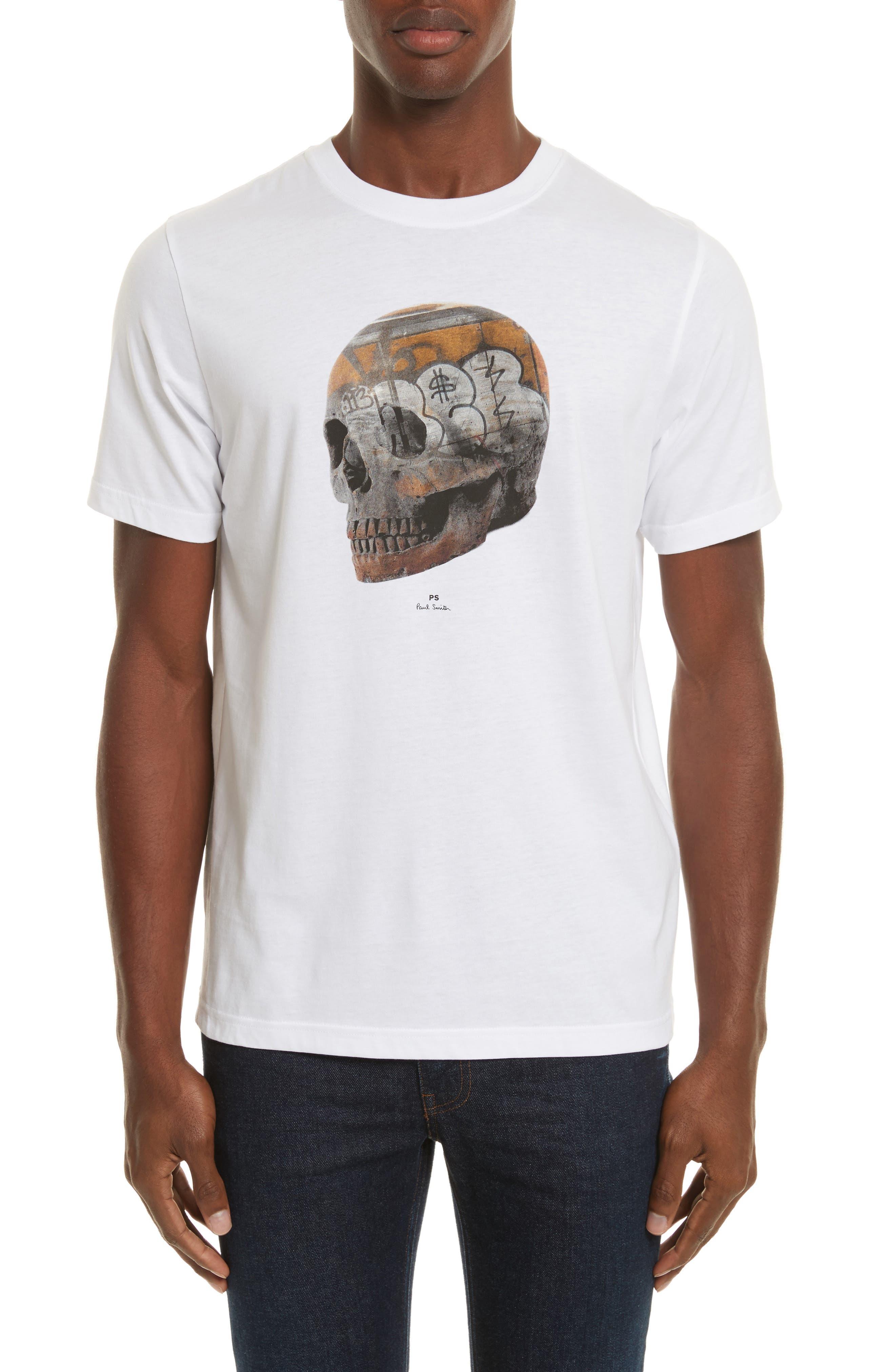Skull Graphic T-Shirt,                         Main,                         color, White