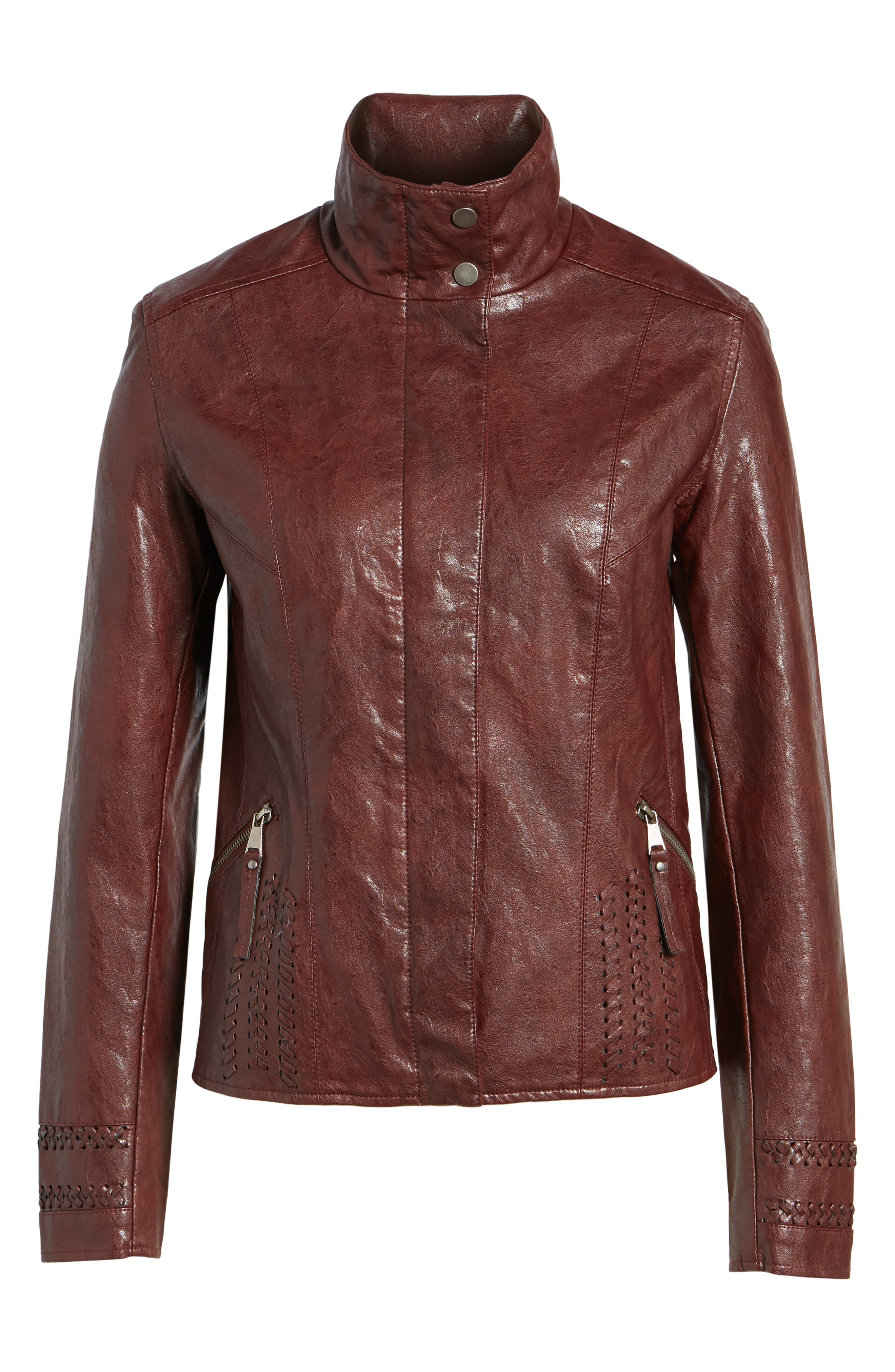 Brittney Faux Leather Jacket,                             Alternate thumbnail 6, color,                             Burgundy