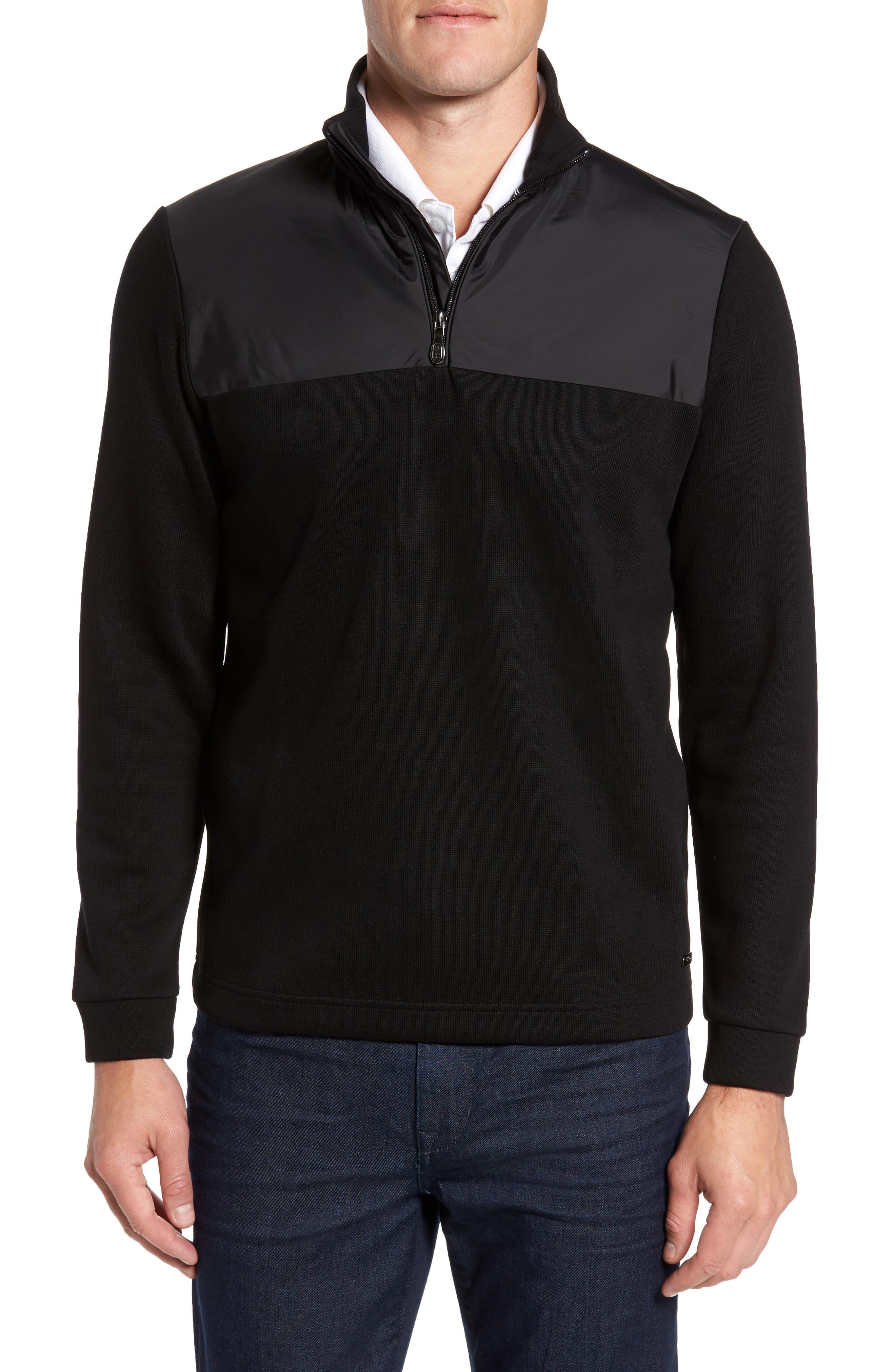 C-Piceno Quarter Zip Fleece Pullover,                             Main thumbnail 1, color,                             Black