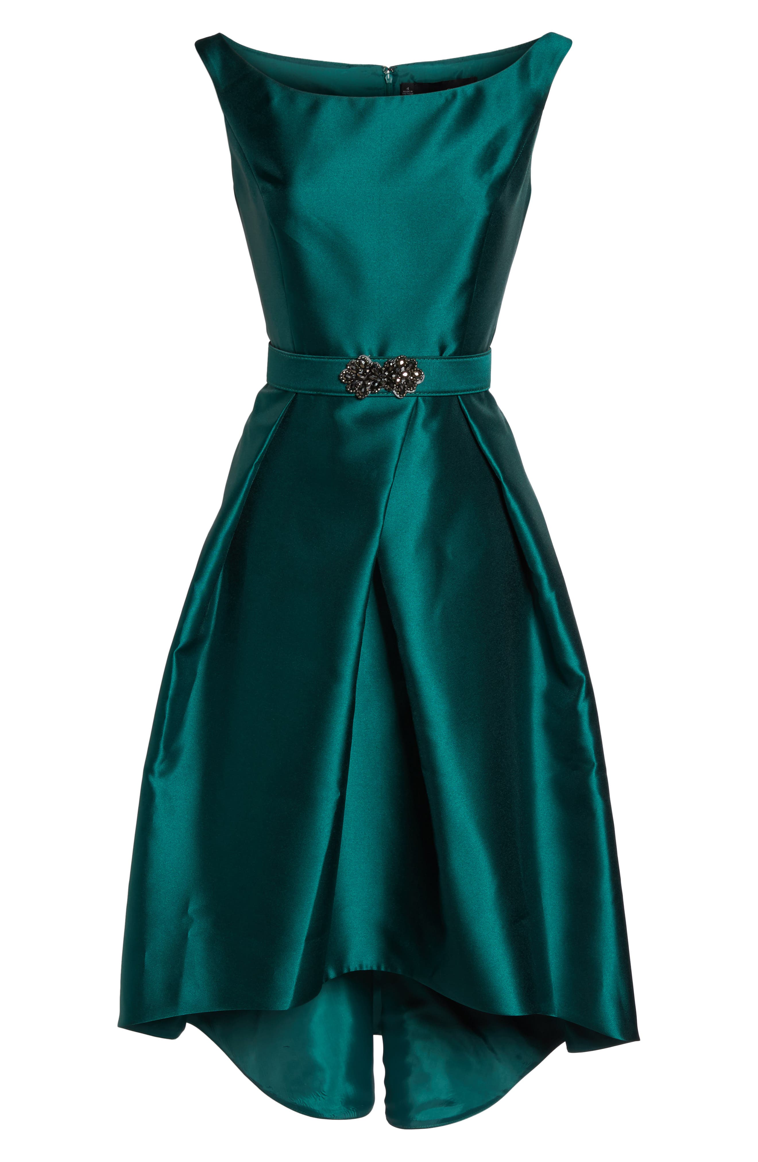 Embellished High/Low Dress,                             Alternate thumbnail 6, color,                             Emerald