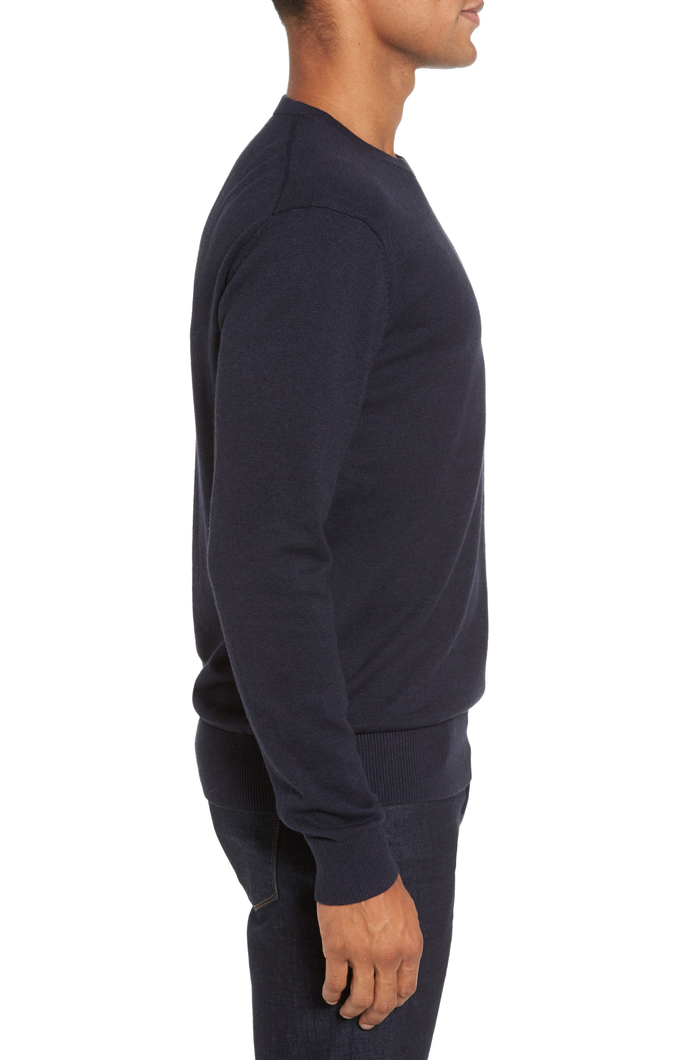 Portrait Crewneck Sweater,                             Alternate thumbnail 3, color,                             Marine Blue