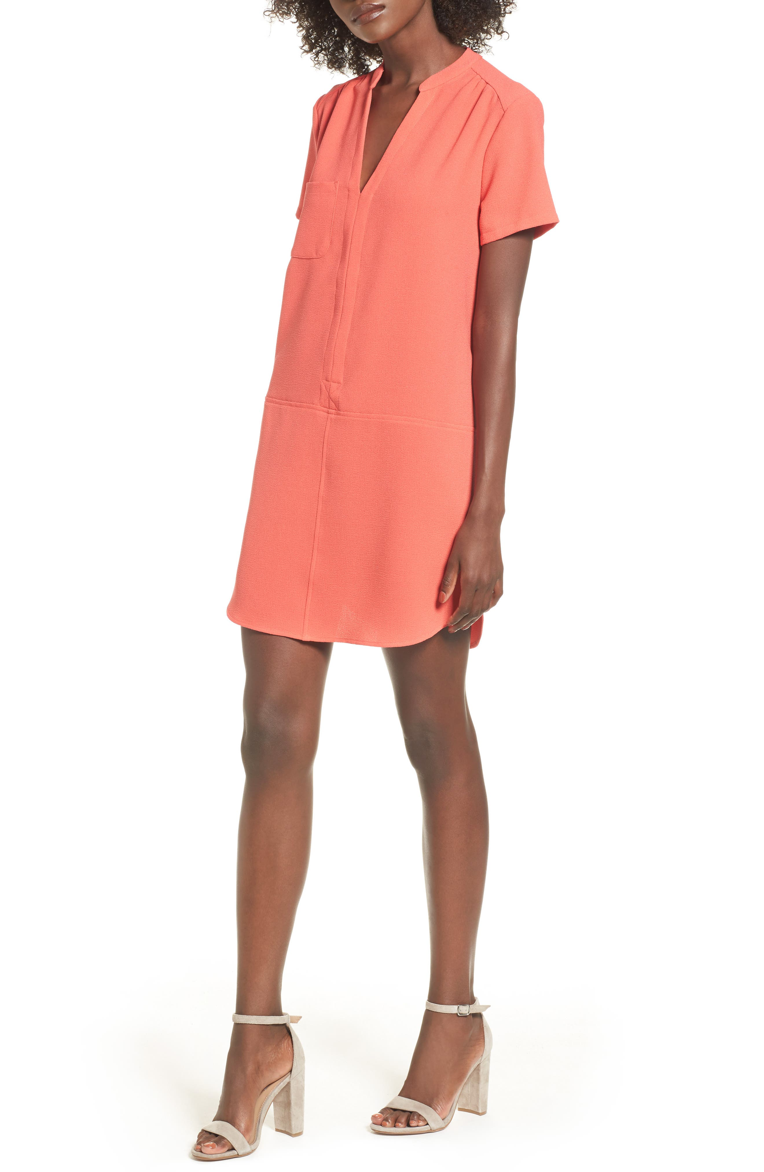 Hailey Crepe Dress,                         Main,                         color, Hot Coral