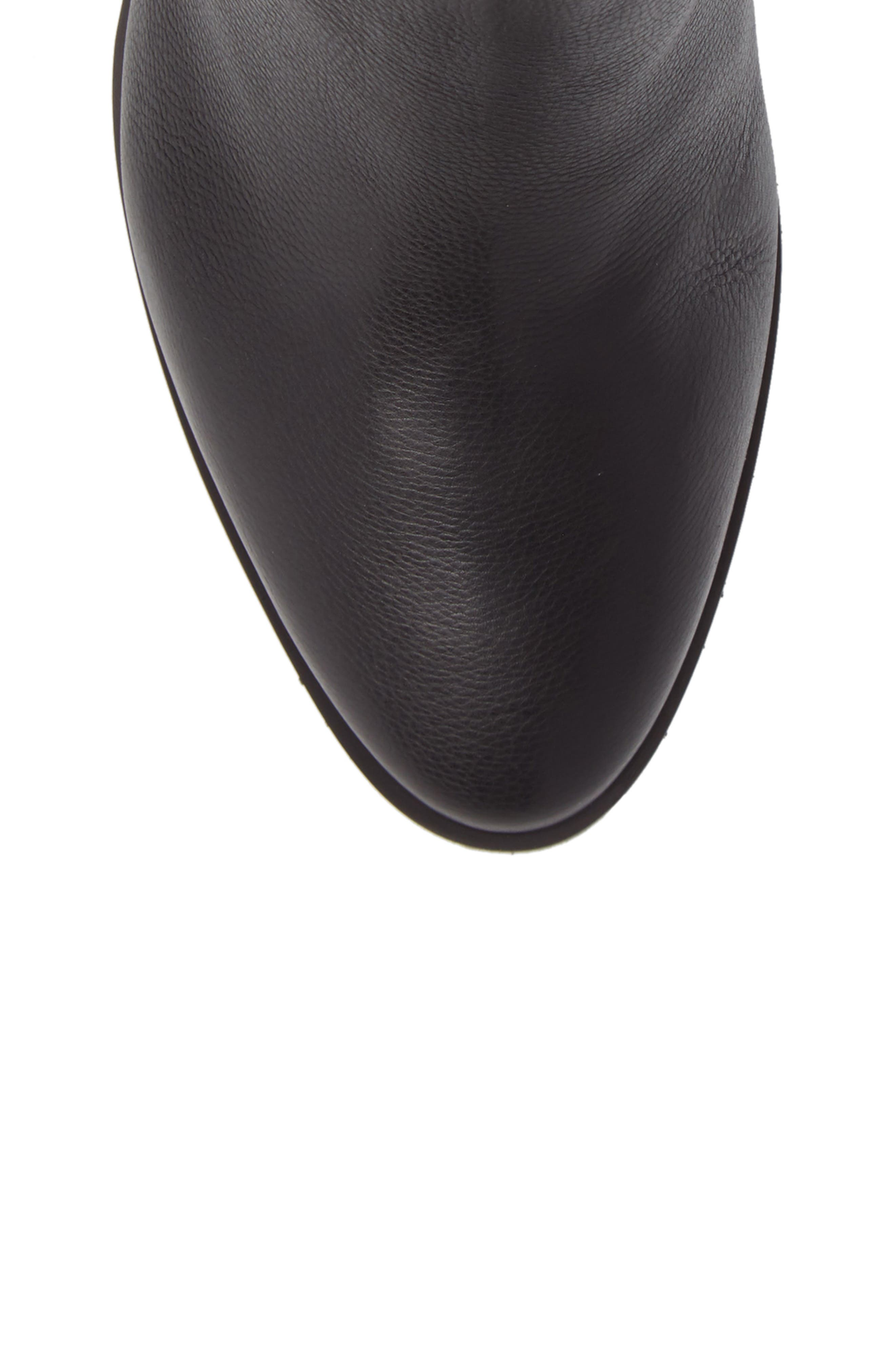 Massima Genuine Shearling Wedge Boot,                             Alternate thumbnail 5, color,                             Black Leather