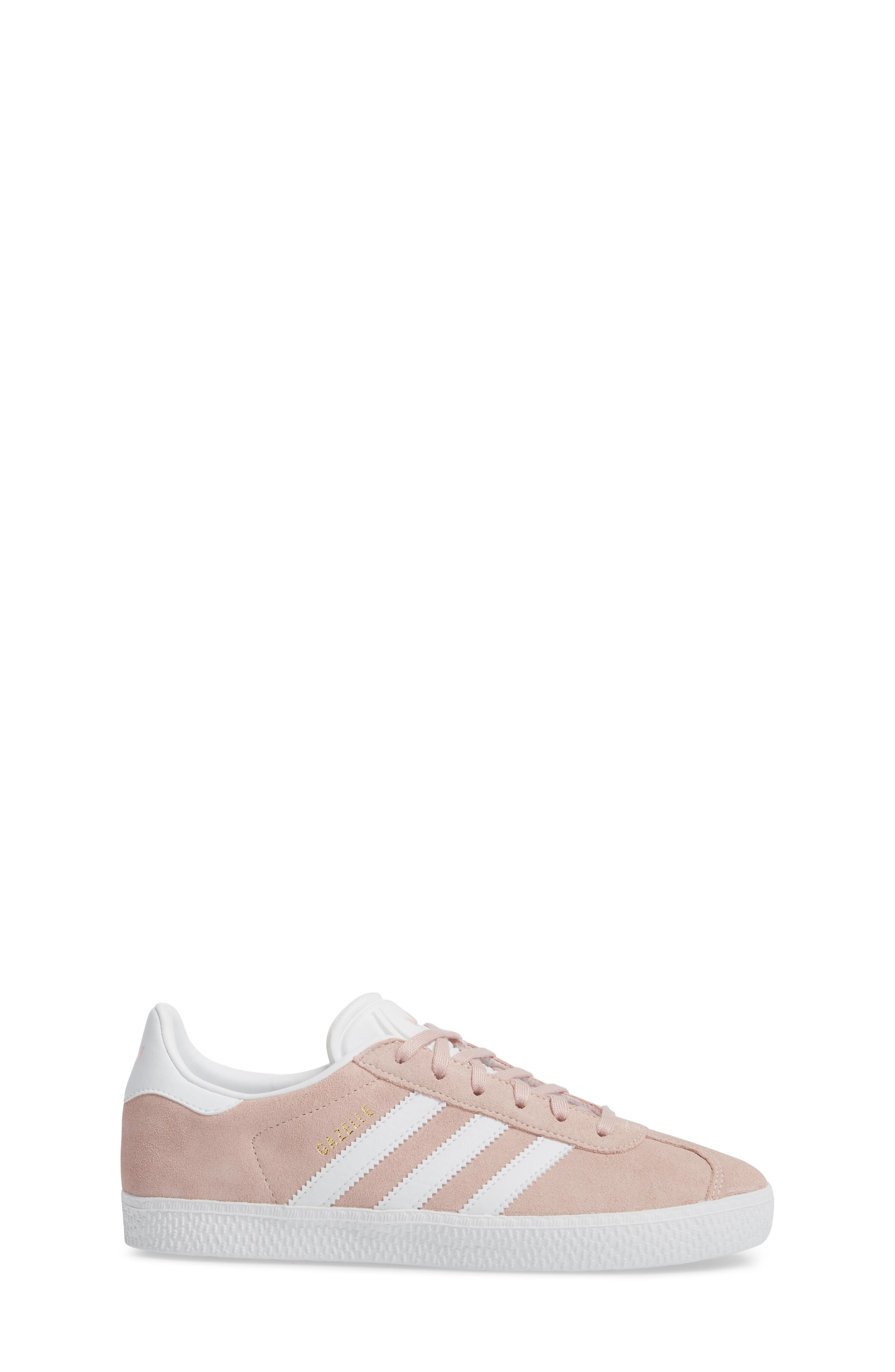 Gazelle Sneaker,                             Alternate thumbnail 3, color,                             Icy Pink/ White/ Gold