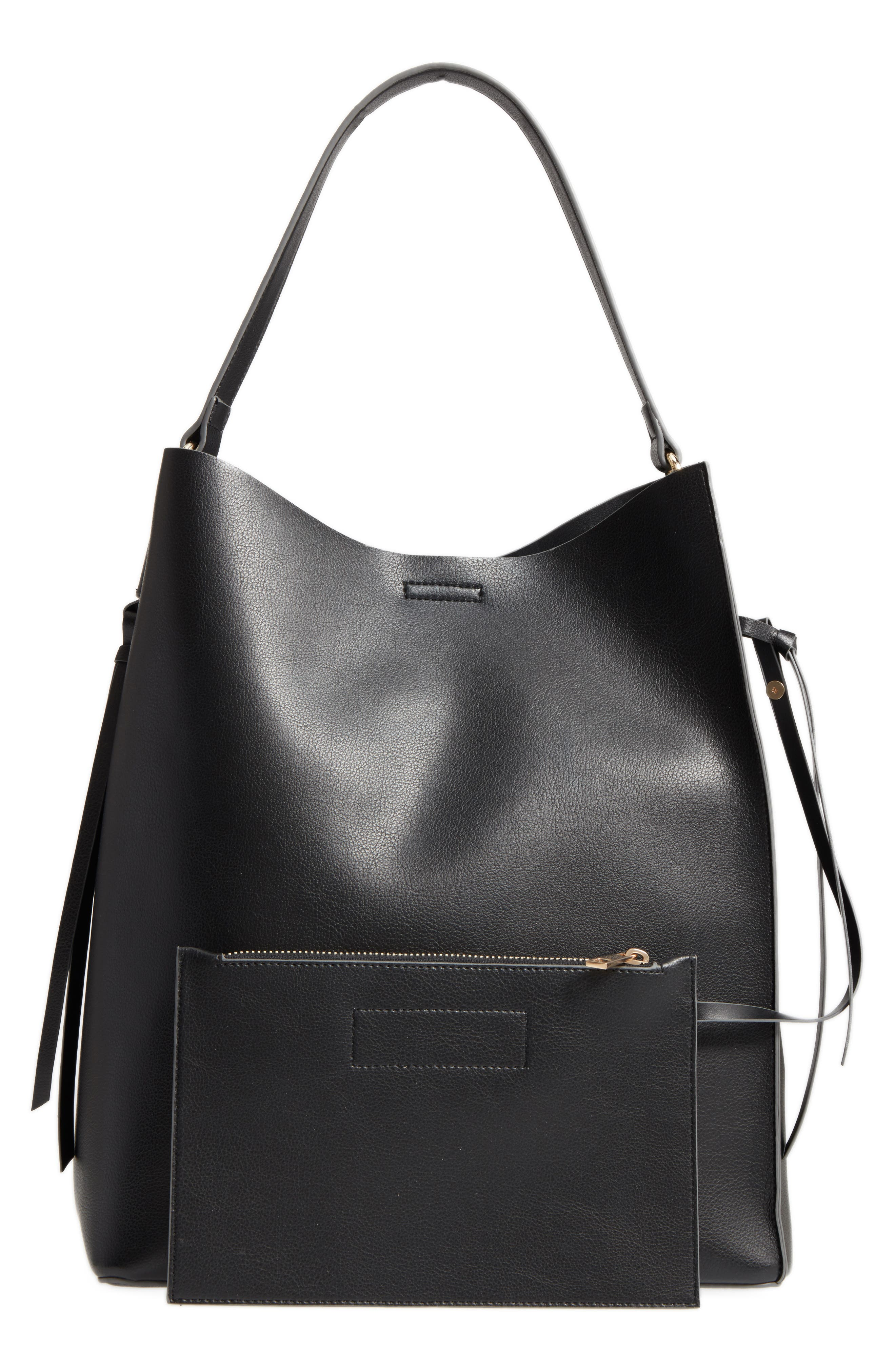 Prima Faux Leather Bucket Bag & Zip Pouch,                             Alternate thumbnail 2, color,                             Black