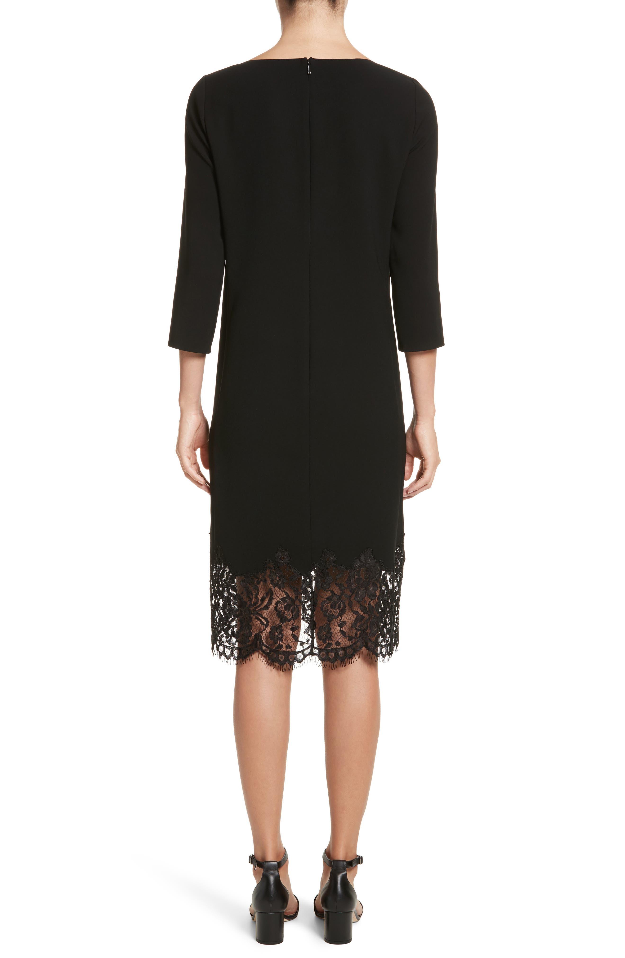 Mya Lace Hem Dress,                             Alternate thumbnail 3, color,                             Black