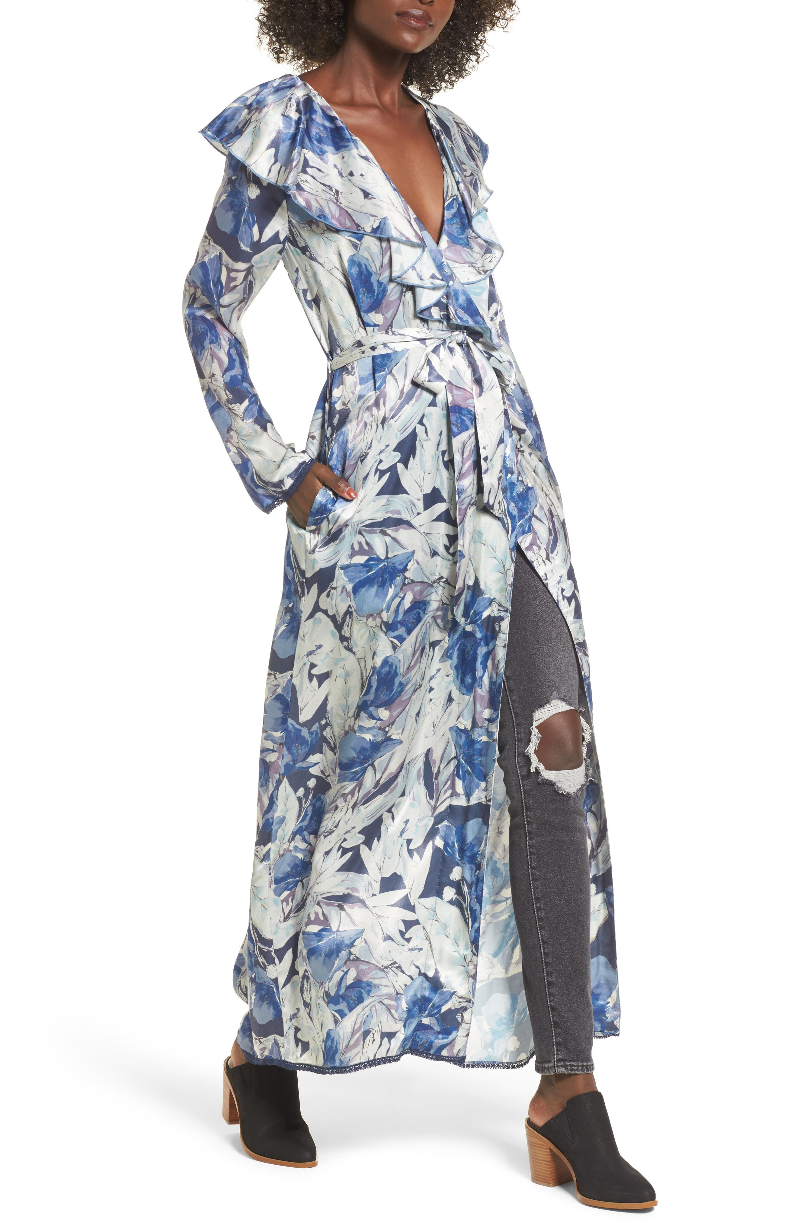 Drucilla Floral Print Duster,                         Main,                         color, Midnight Floral