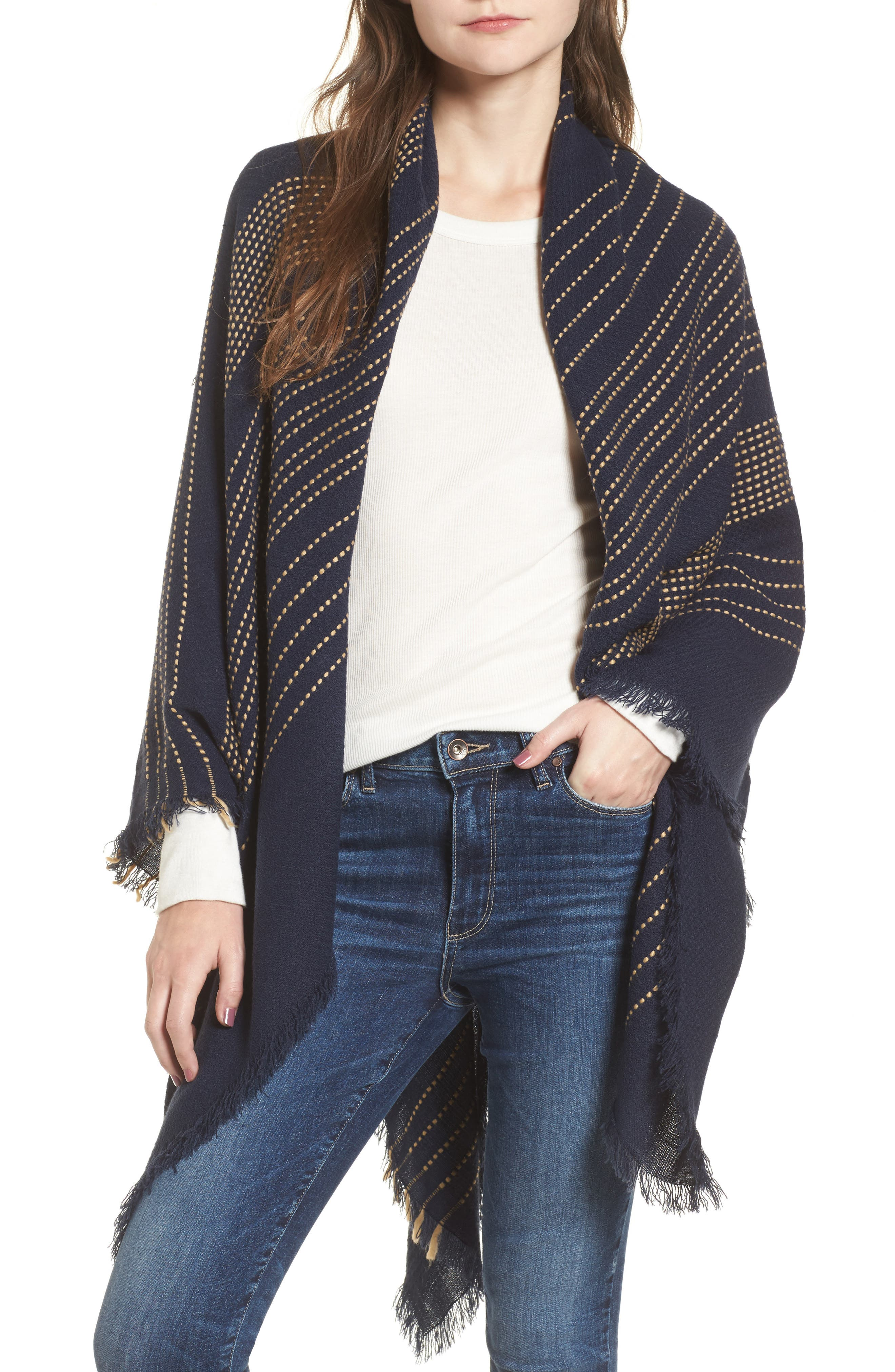 Textured Stripe Blanket Scarf,                         Main,                         color, Navy