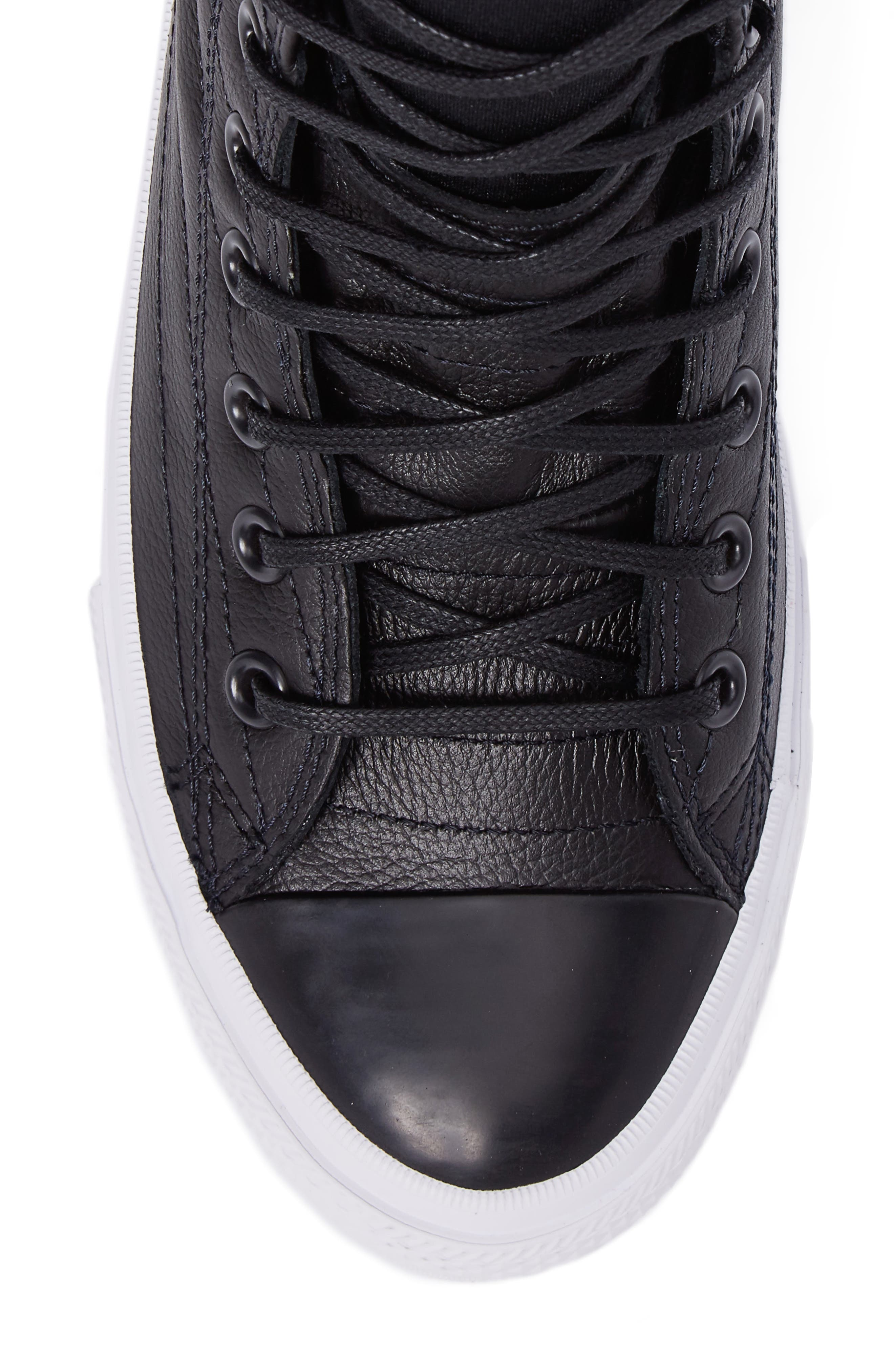 Chuck Taylor<sup>®</sup> All Star<sup>®</sup> Waterproof Quilted Sneaker,                             Alternate thumbnail 5, color,                             Black Leather