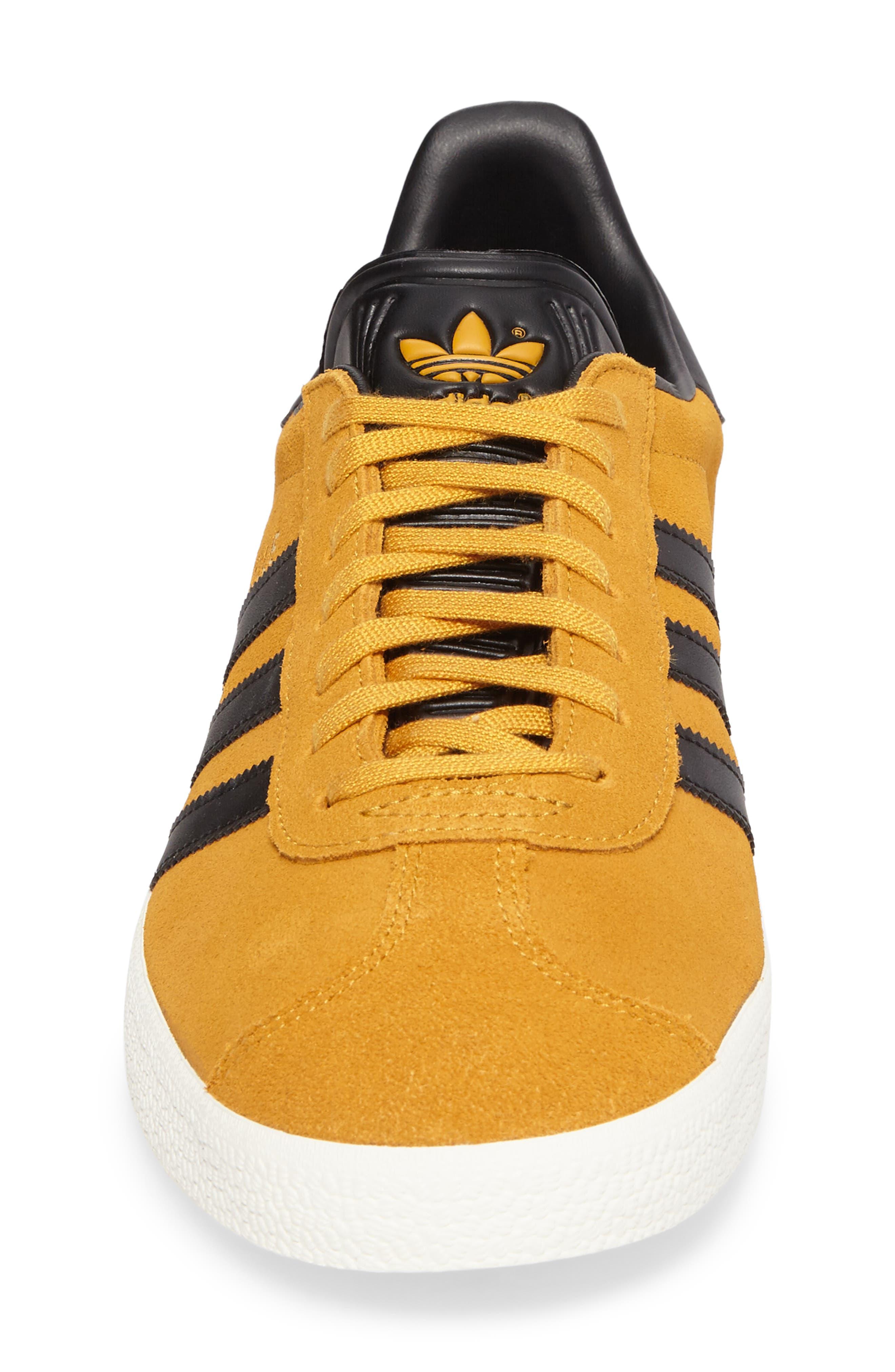 Gazelle Sneaker,                             Alternate thumbnail 4, color,                             Yellow/ Core Black/ Gold