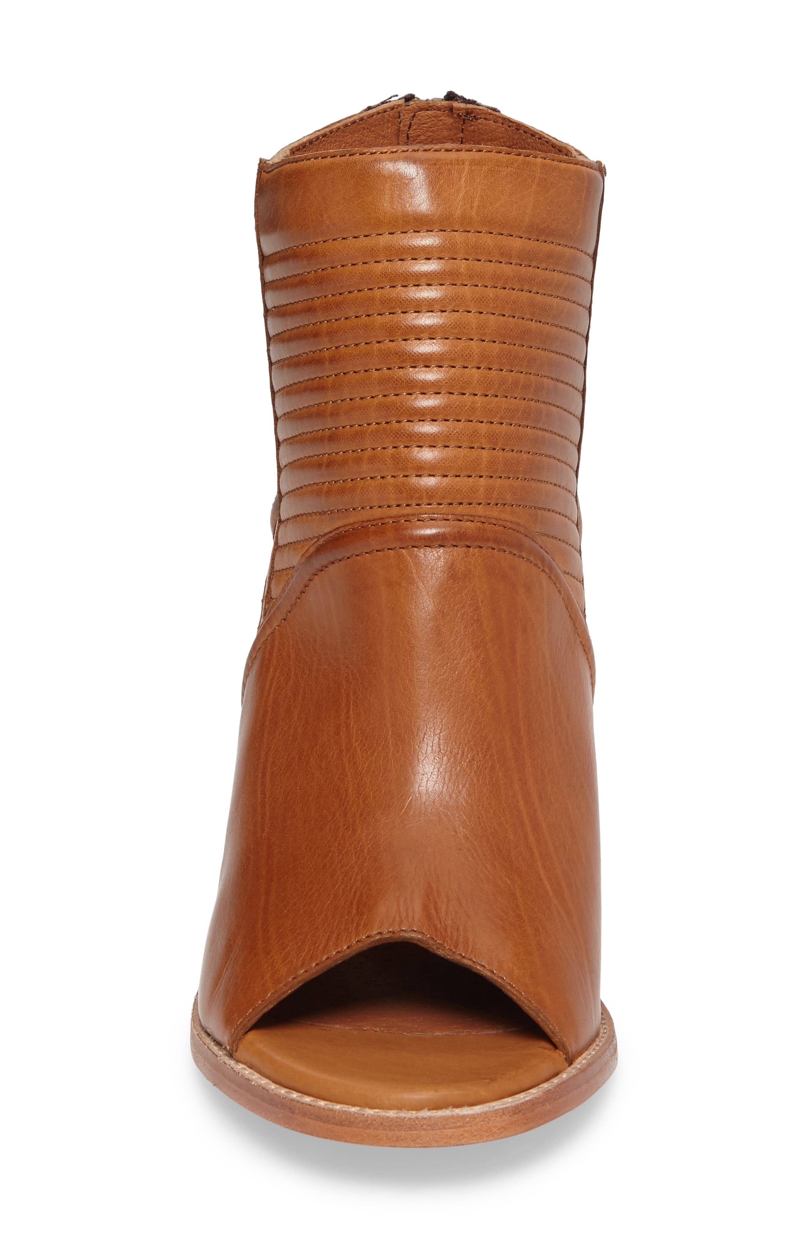 Bailey Quilted Peep Toe Bootie,                             Alternate thumbnail 4, color,                             Cognac
