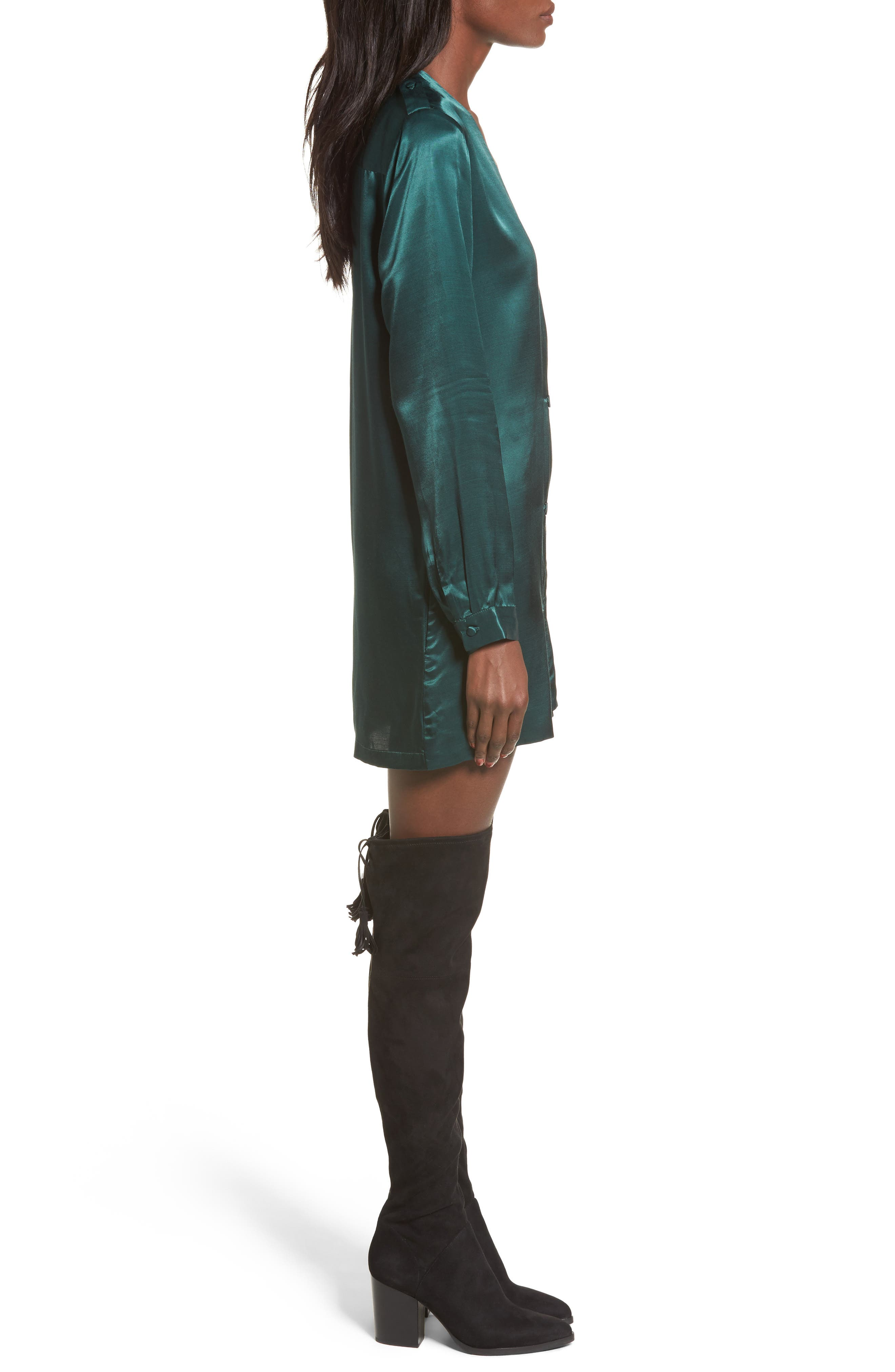 L'Academie The Cadet Shirtdress,                             Alternate thumbnail 3, color,                             Emerald