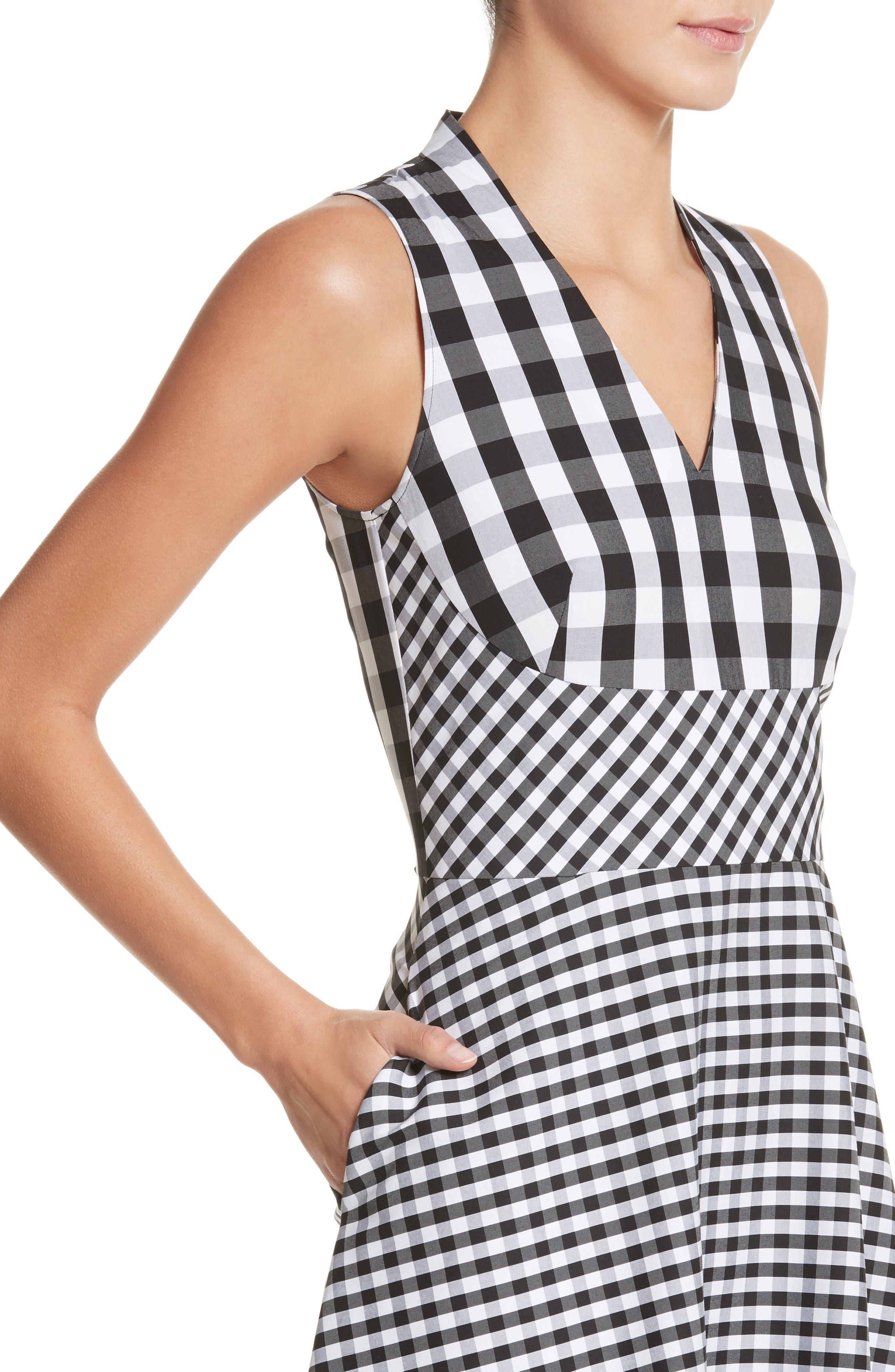Adina Gingham Midi Dress,                             Alternate thumbnail 4, color,                             Black Multi