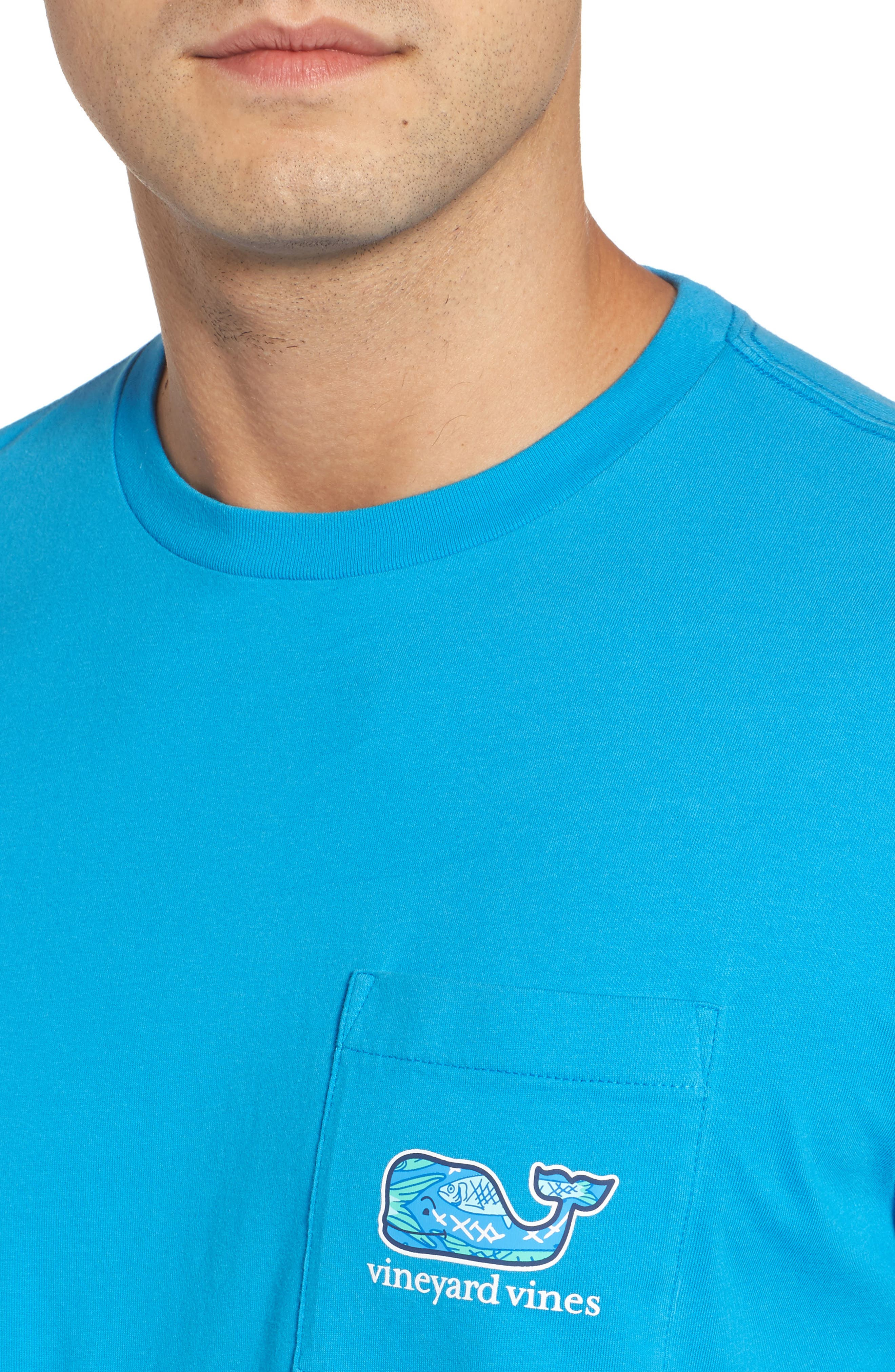 Fish Scale Whale Fill Pocket T-Shirt,                             Alternate thumbnail 4, color,                             Cay Blue