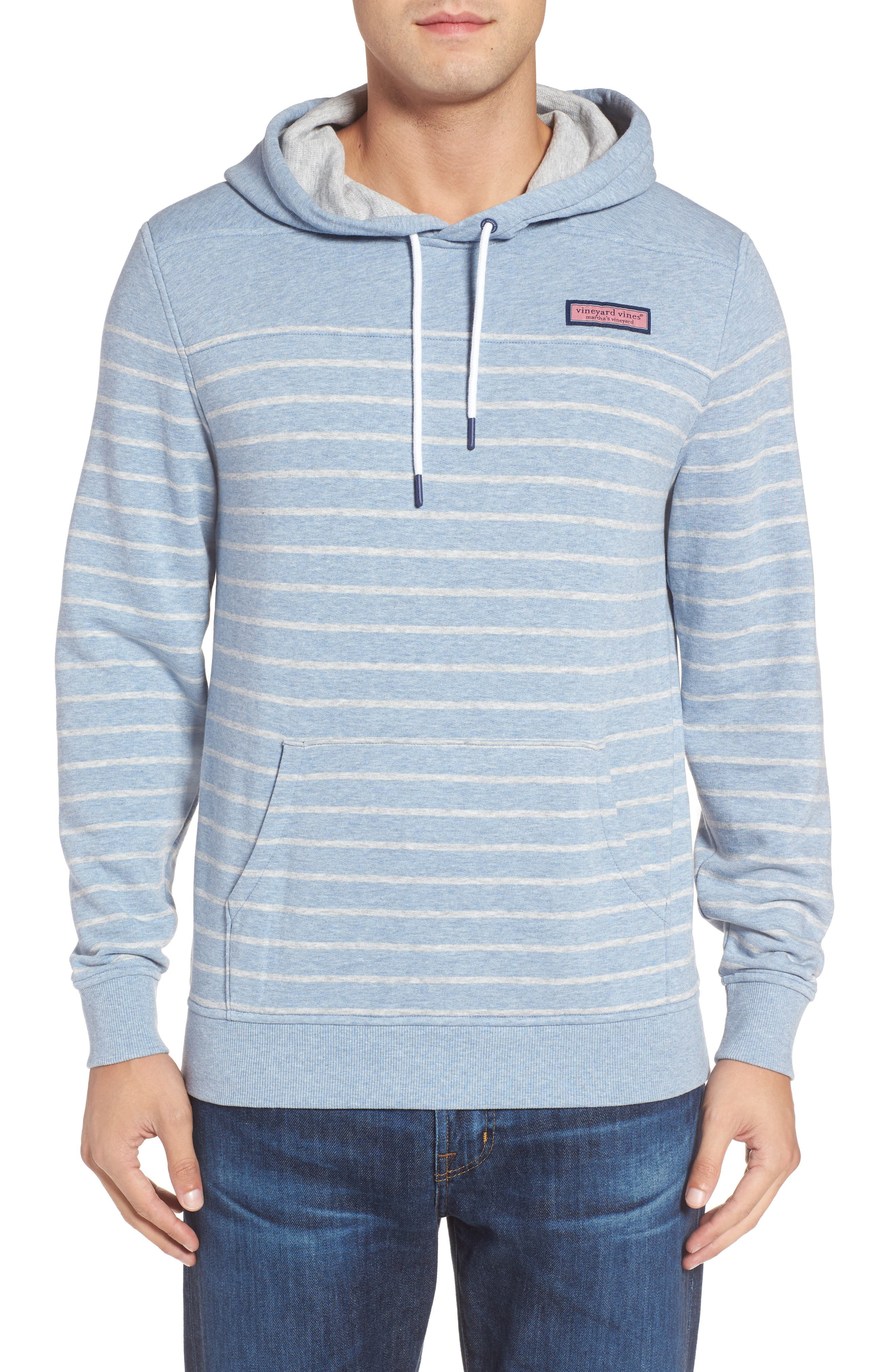 Stripe Washed Cotton Pullover Hoodie,                             Main thumbnail 1, color,                             Summer Evening