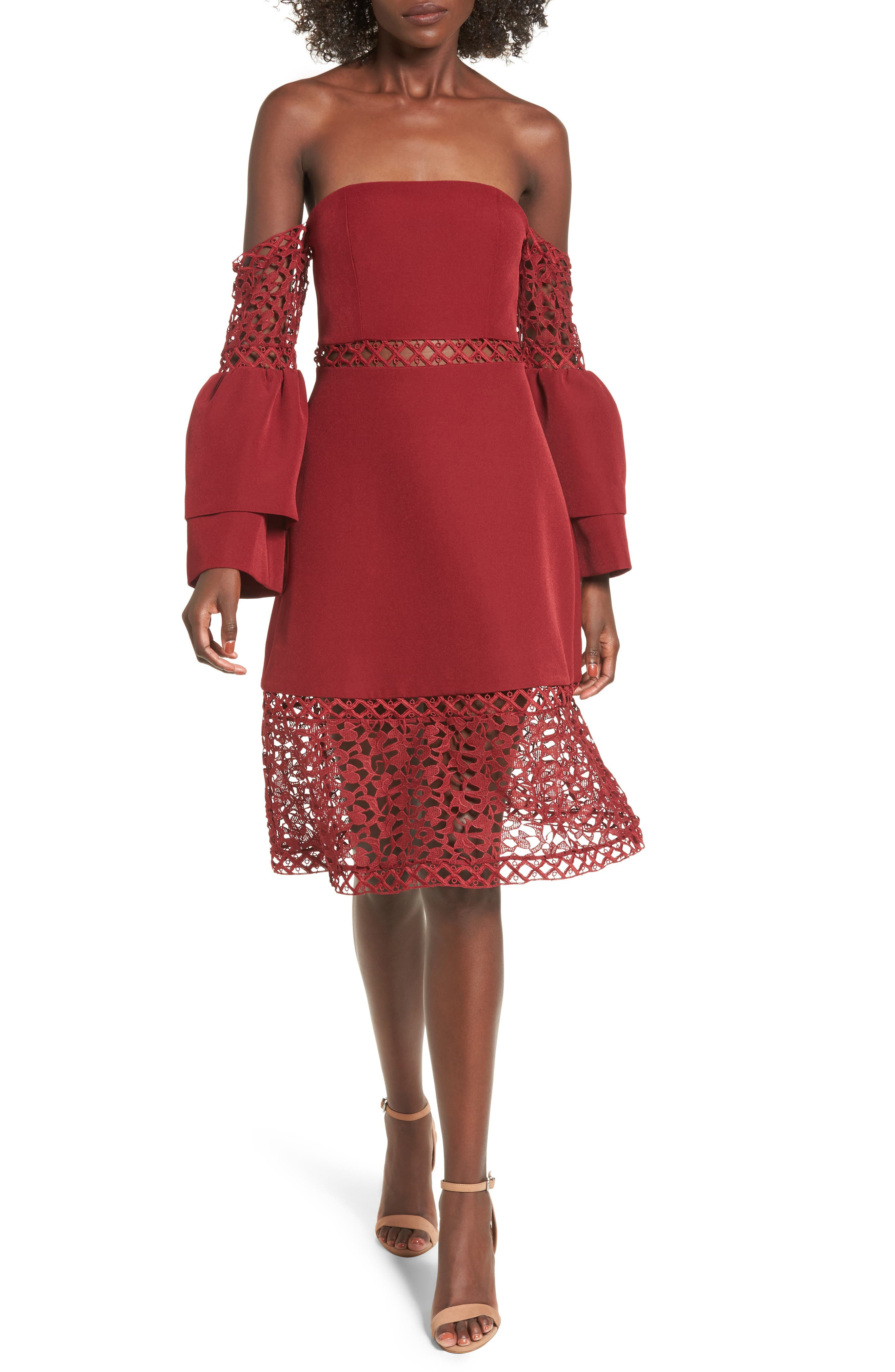 Keepsake the Label Uplifted Off the Shoulder Lace Dress