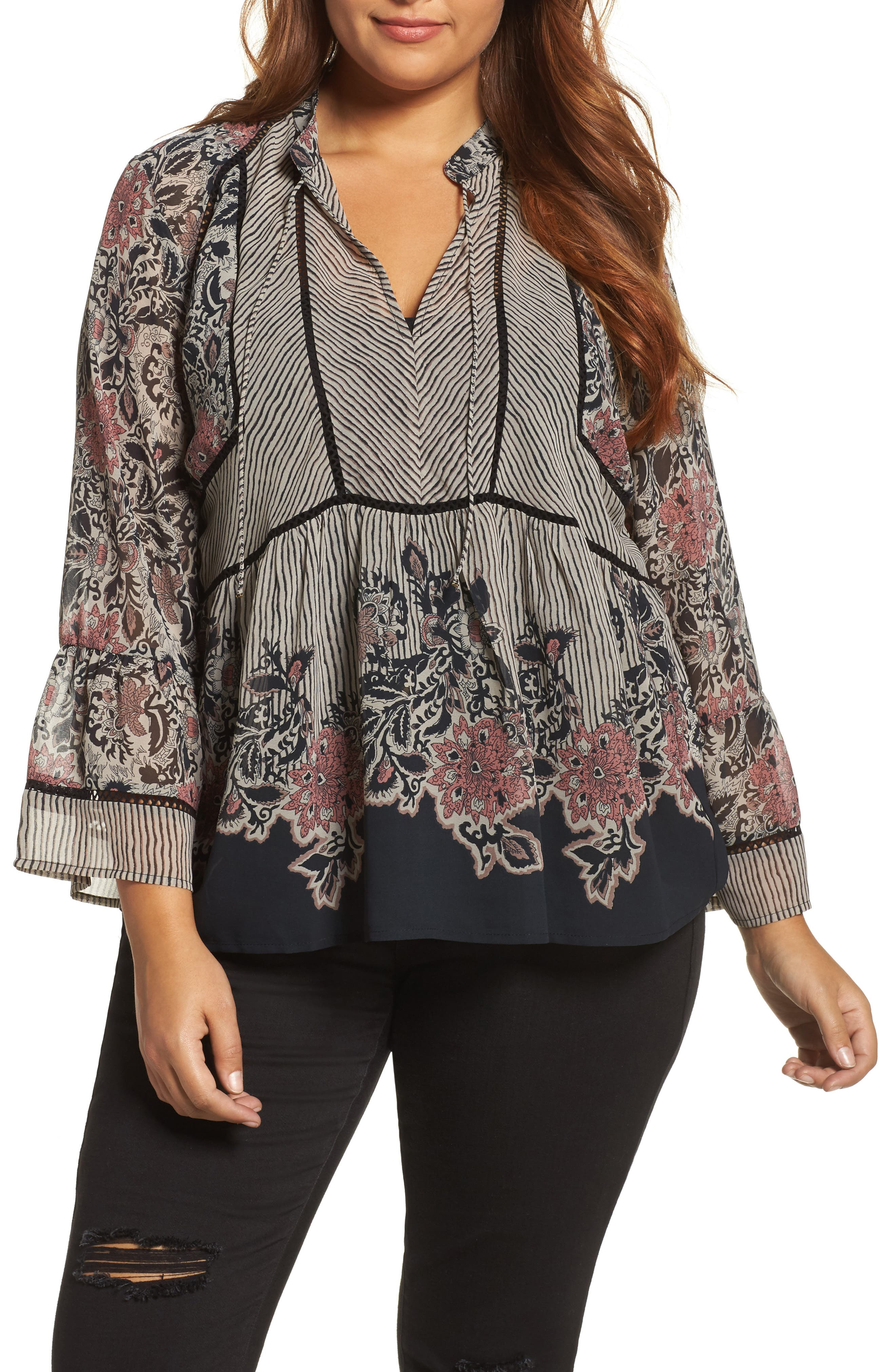 Alternate Image 1 Selected - Lucky Brand Mixed Print Top (Plus Size)