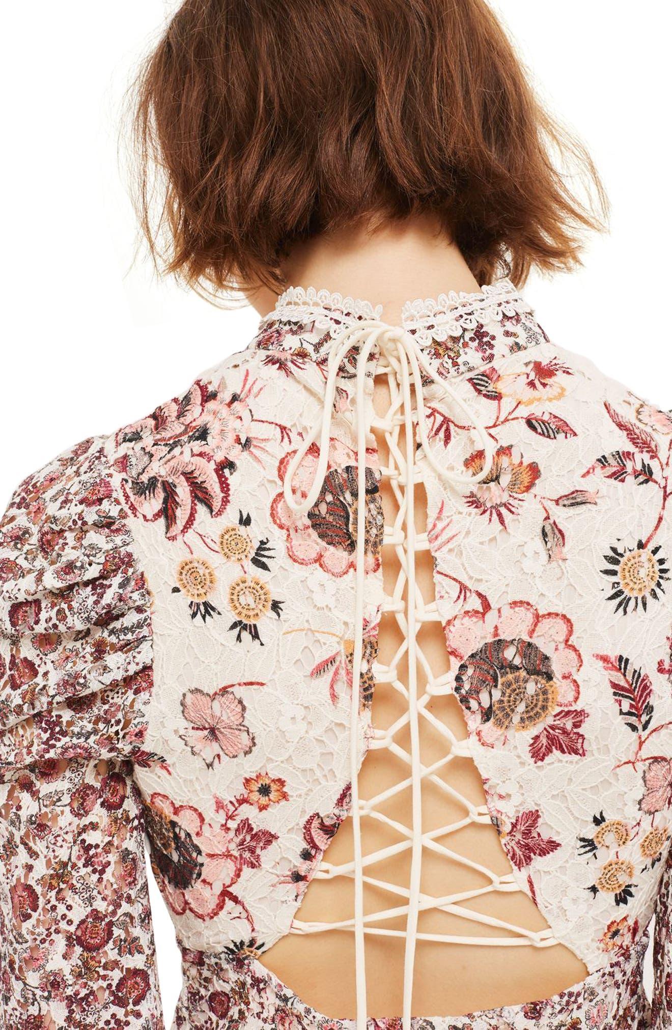 Alternate Image 3  - Topshop Floral Lace Strappy Back Dress