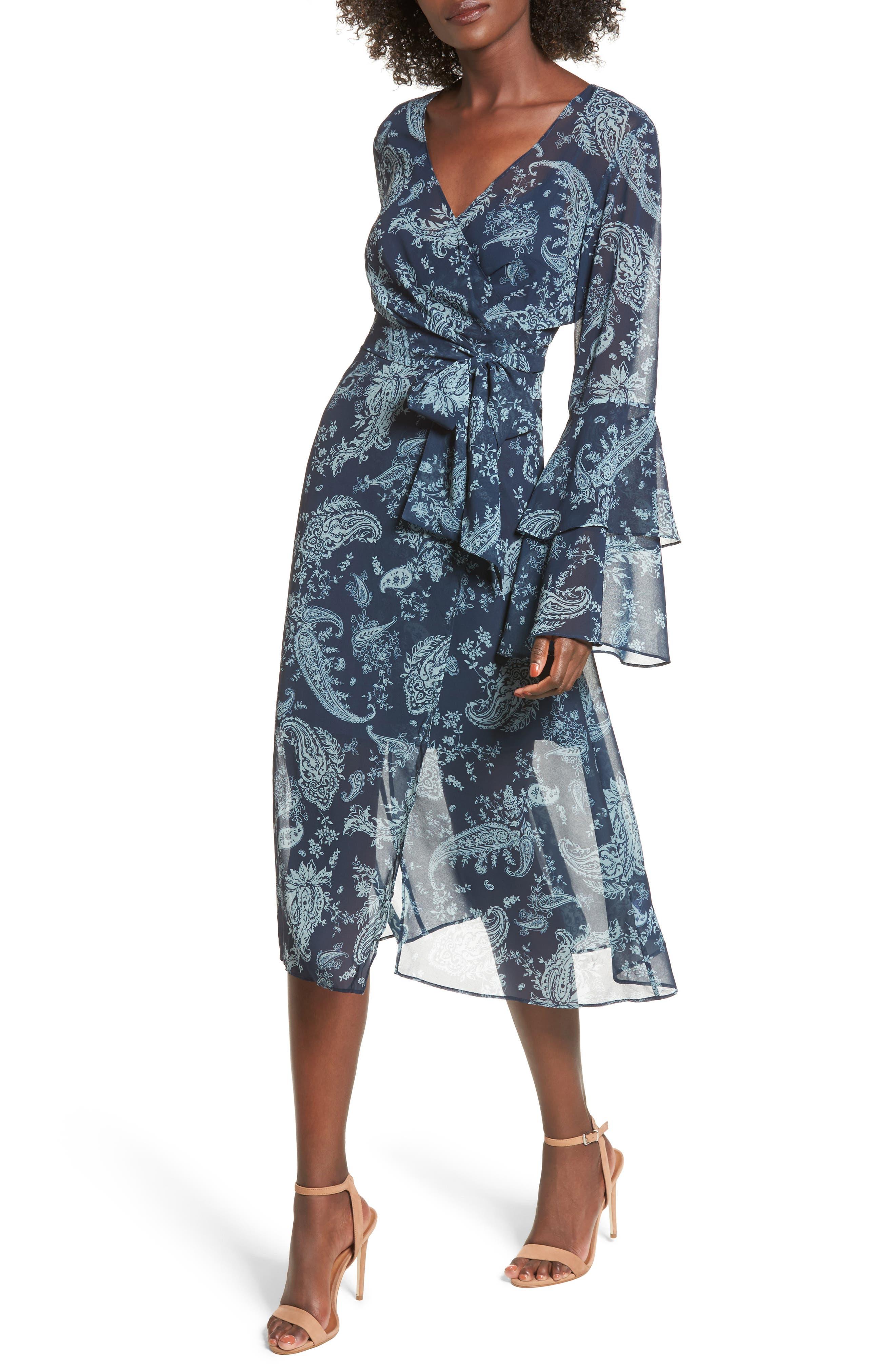 Go With It Wrap Midi Dress,                         Main,                         color, Navy Paisley