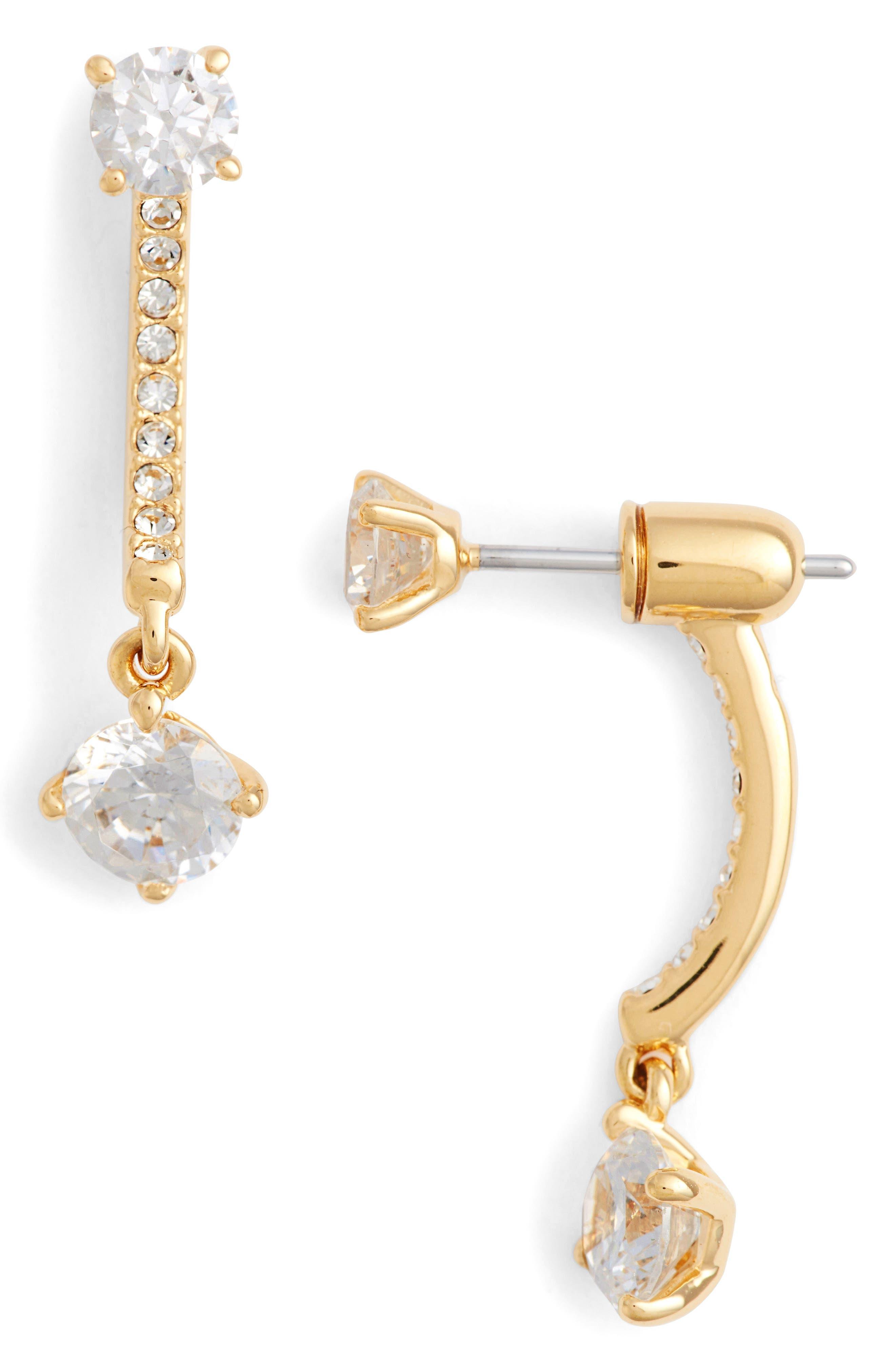 Cubic Zirconia Ear Jackets,                         Main,                         color, Gold