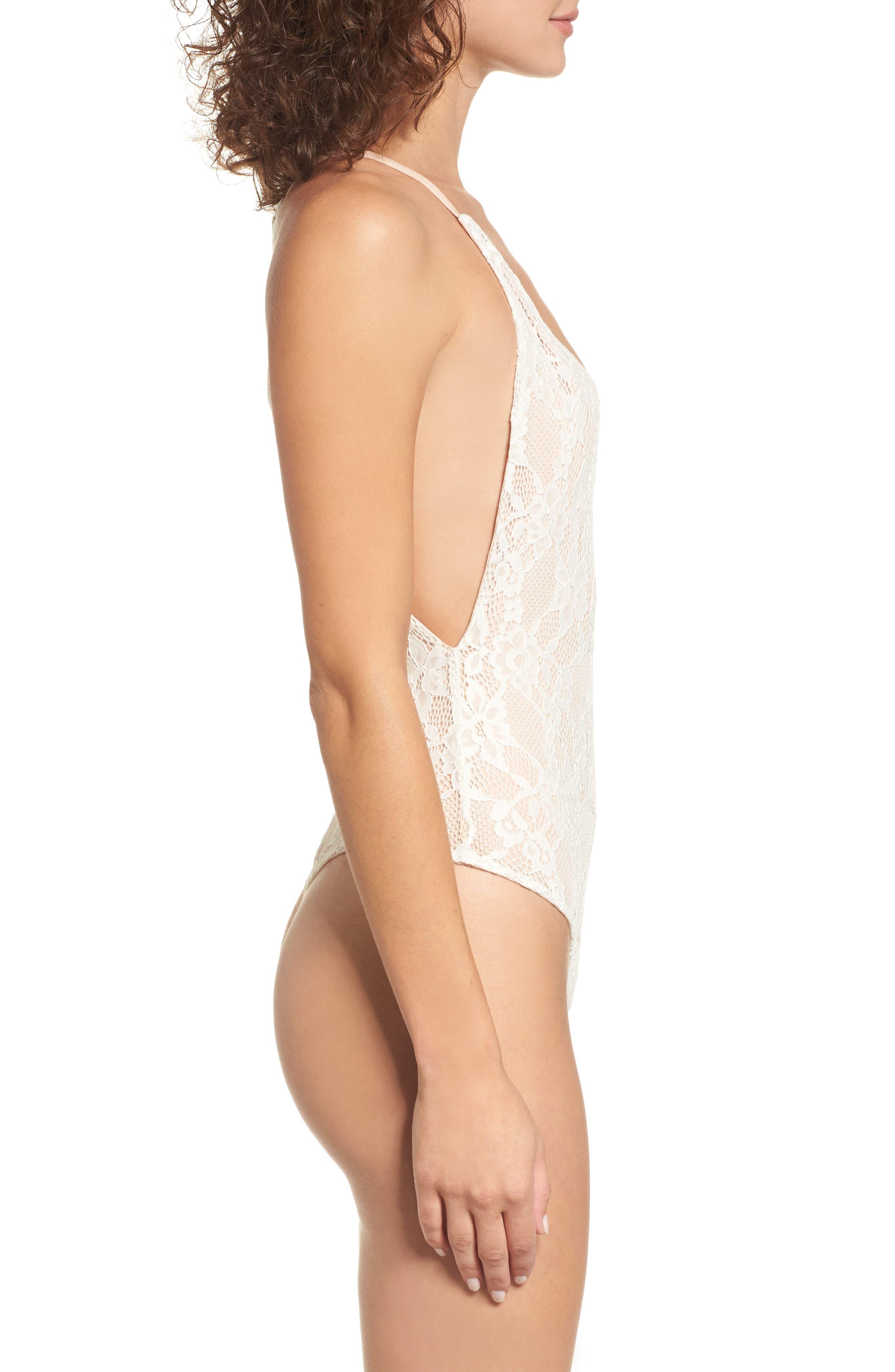 Lace Thong Bodysuit,                             Alternate thumbnail 3, color,                             Ivory