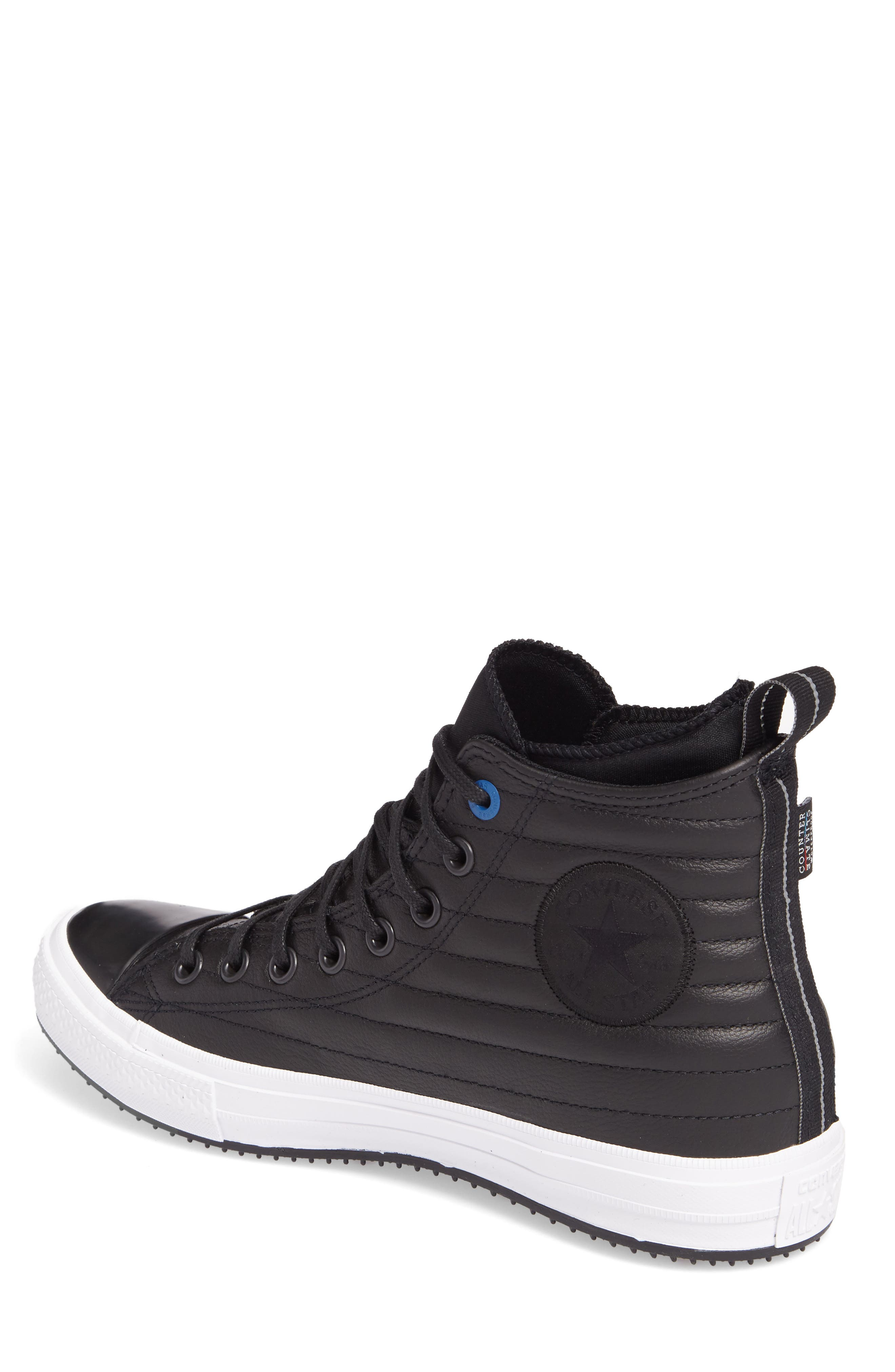 Chuck Taylor<sup>®</sup> All Star<sup>®</sup> Waterproof Quilted Sneaker,                             Alternate thumbnail 2, color,                             Black Leather