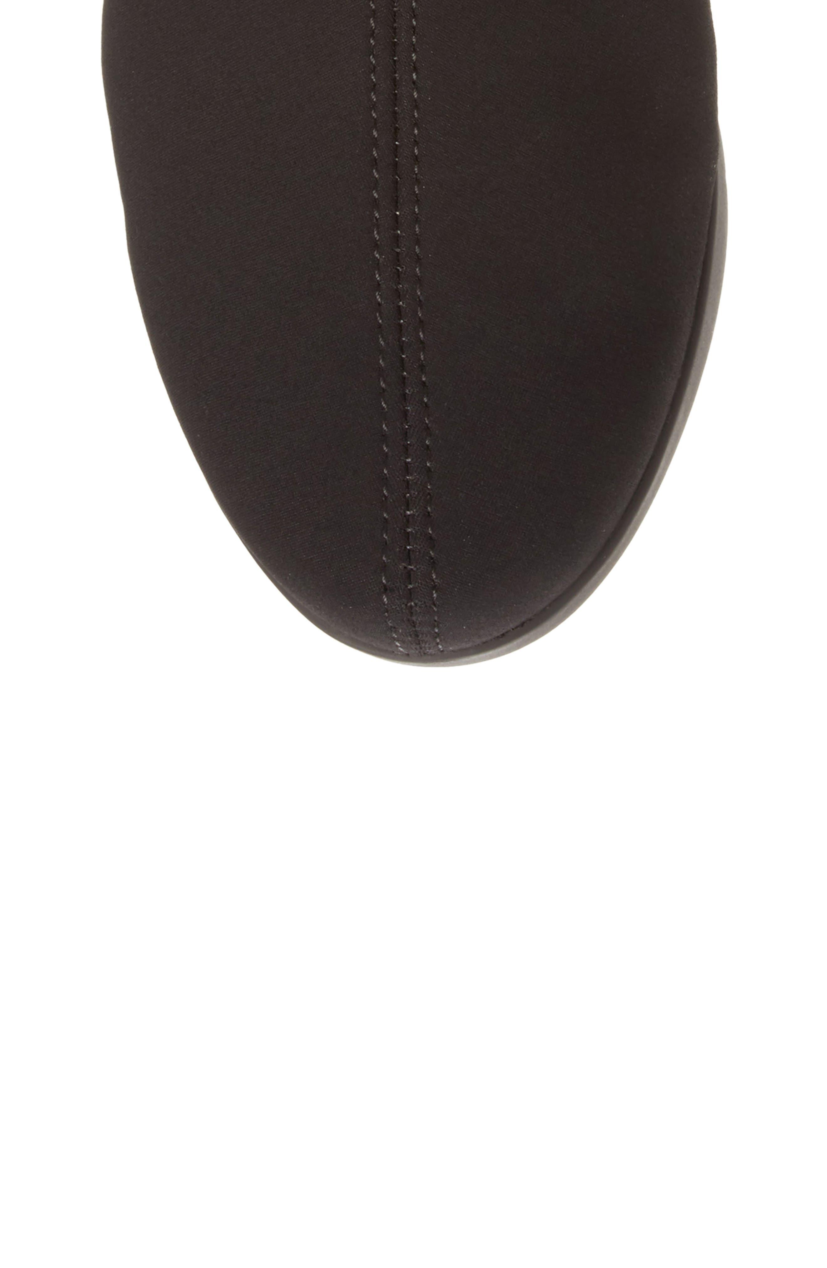 Minda Waterproof Wedge Boot,                             Alternate thumbnail 5, color,                             Black Fabric