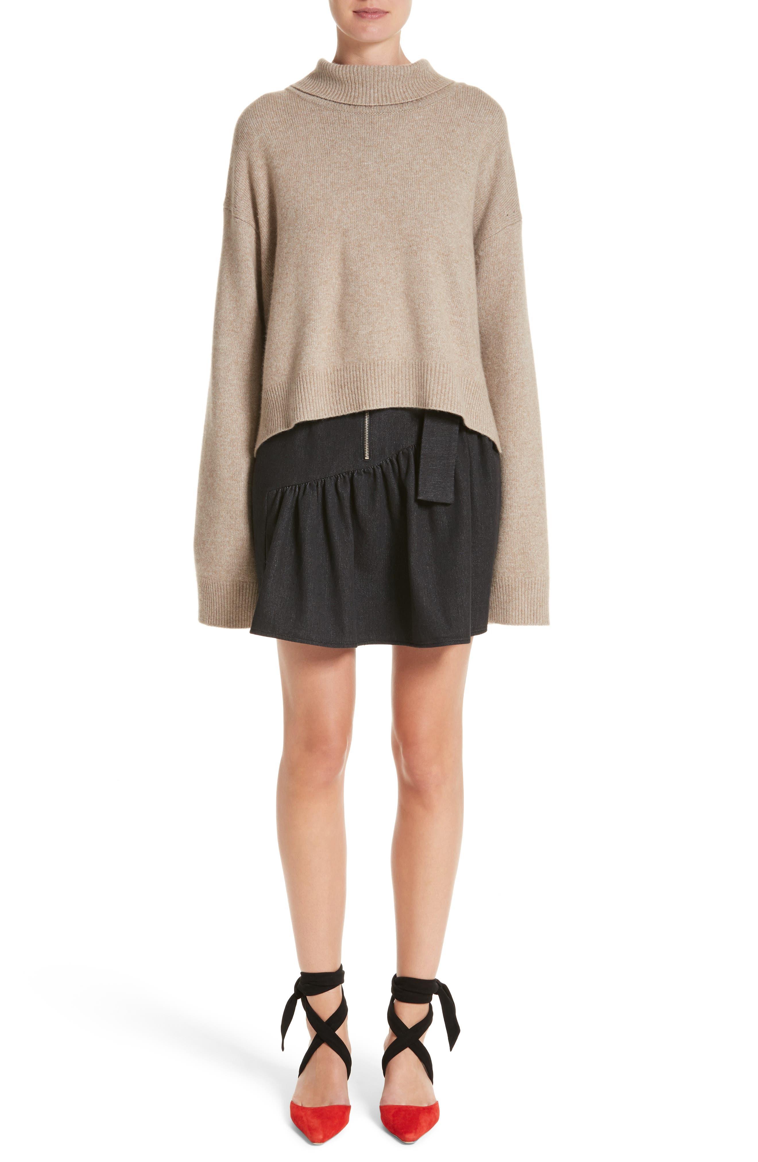 Belted Ruffle Denim Miniskirt,                             Alternate thumbnail 8, color,                             Cotton Denim Black