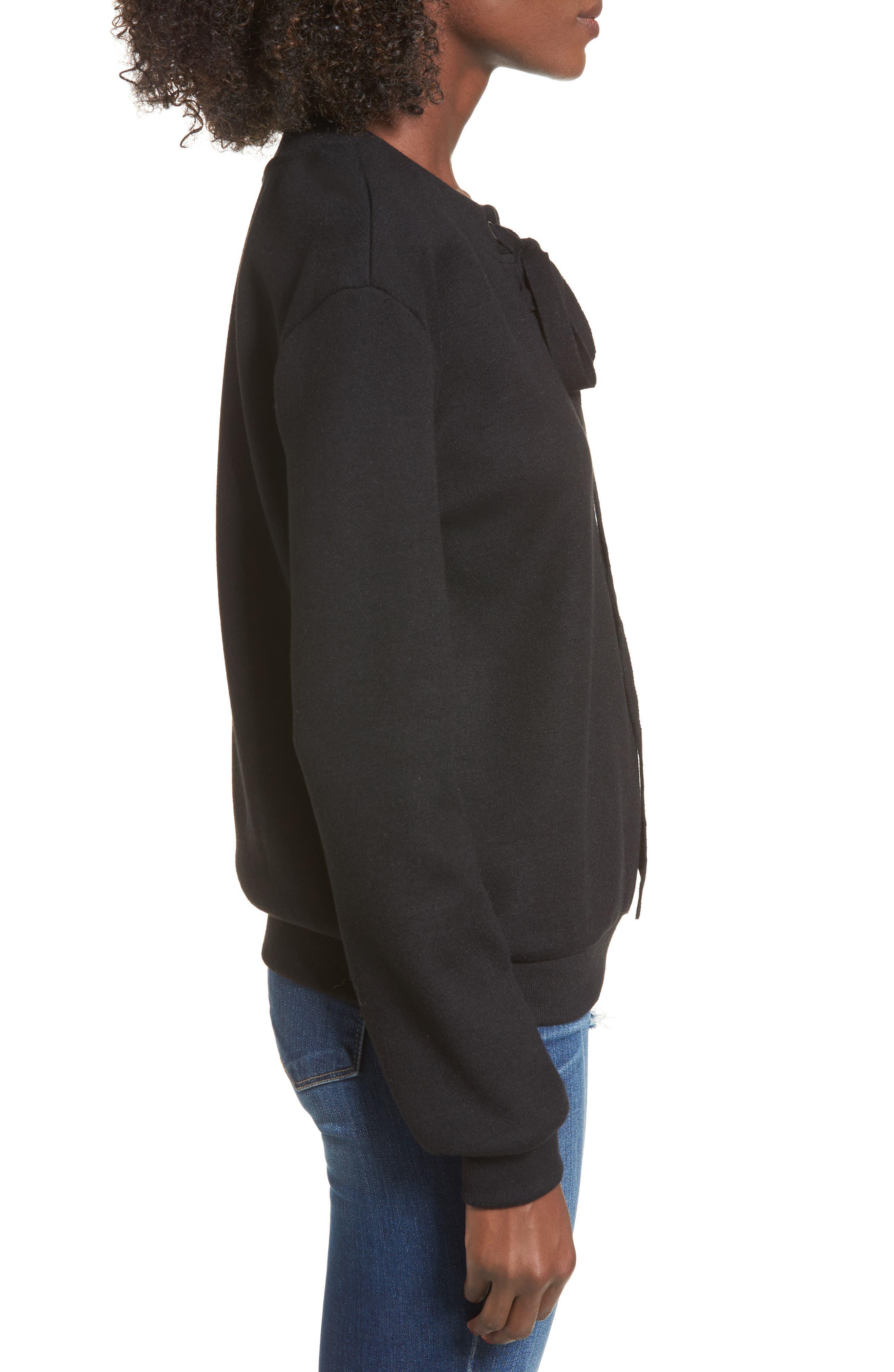 Alternate Image 3  - J.O.A. Lace-Up Sweatshirt