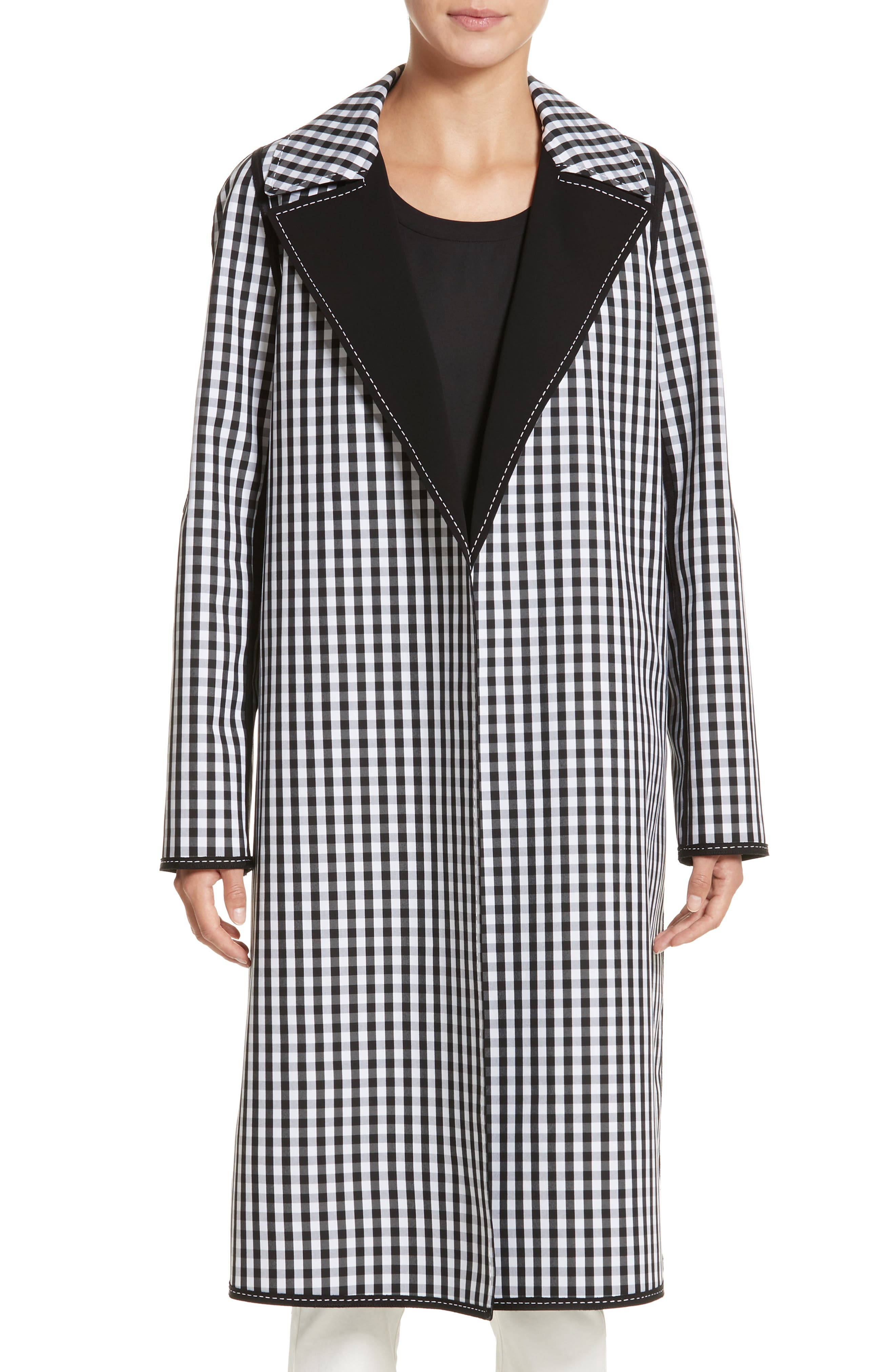 Dina Reversible Trench Coat,                             Main thumbnail 1, color,                             Black Multi