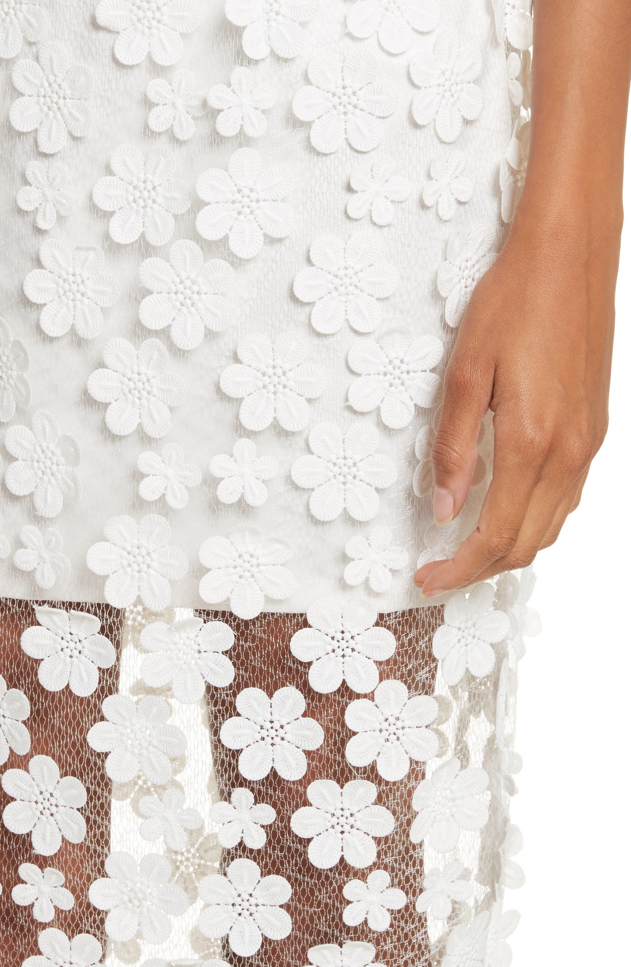 Floral Appliqué Skirt,                             Alternate thumbnail 4, color,                             White