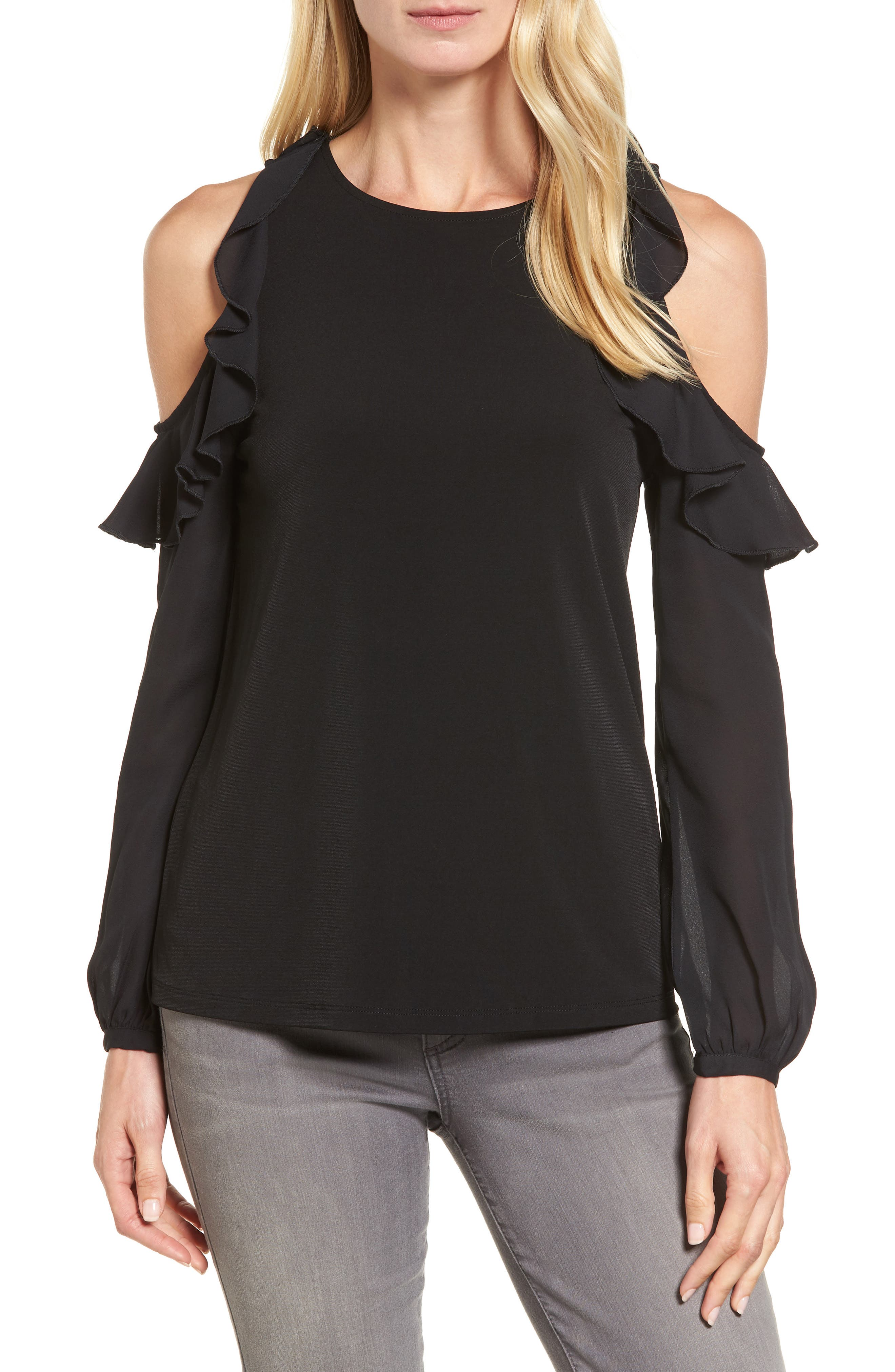 Halogen® Cold Shoulder Mixed Media Top (Regular & Petite)