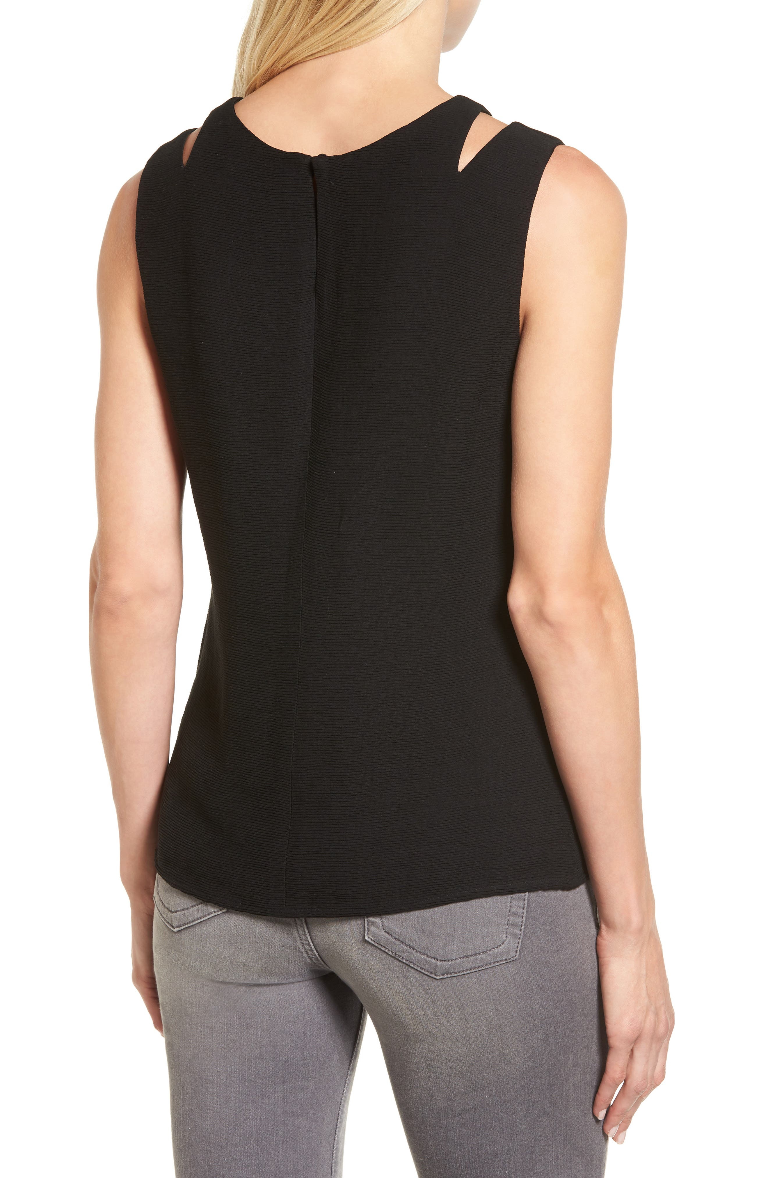 Tiered Texture Tank,                             Alternate thumbnail 2, color,                             Black Onyx