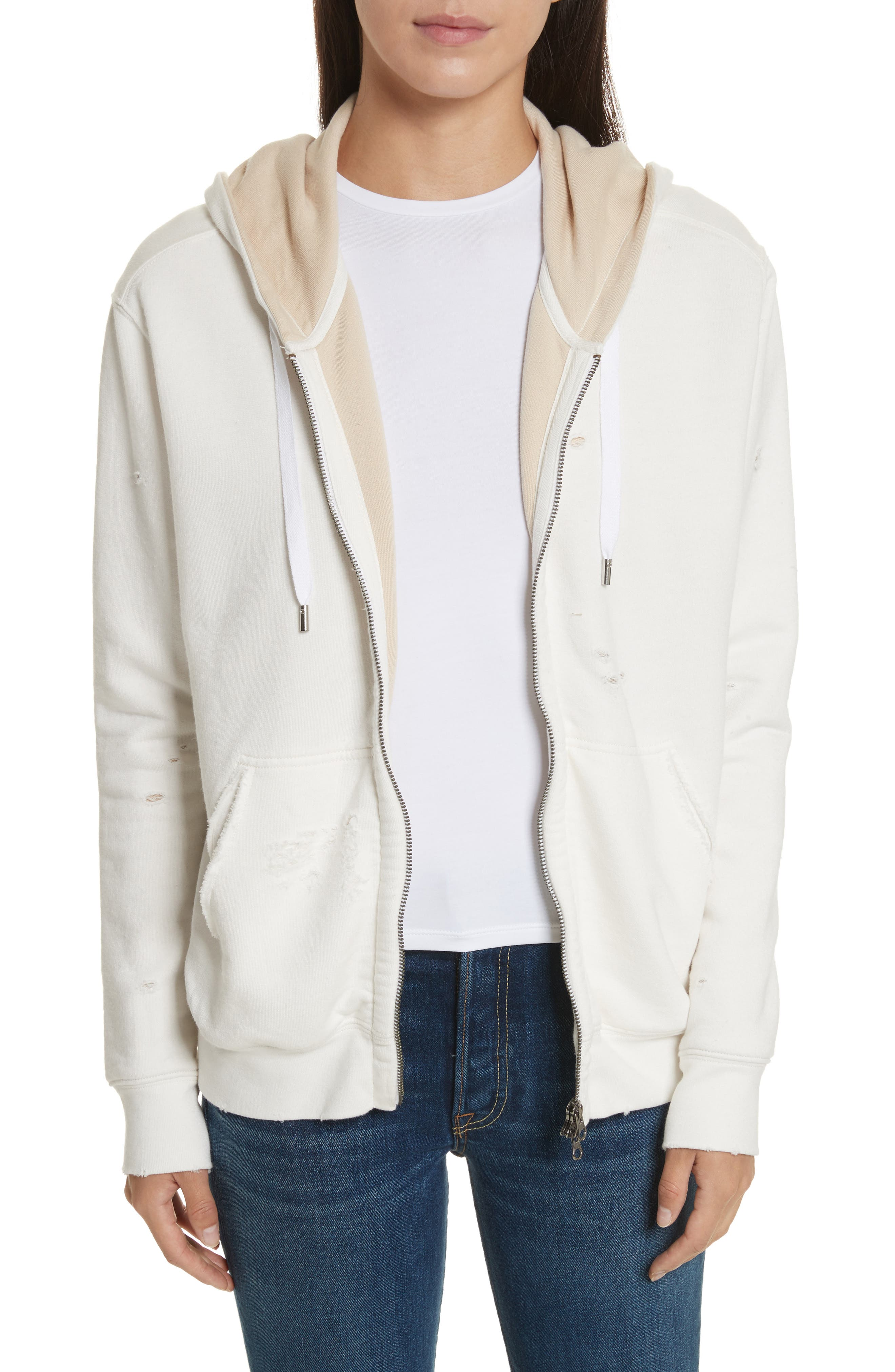 Double Layer French Terry Hoodie,                         Main,                         color, Chalk/ Sandstone
