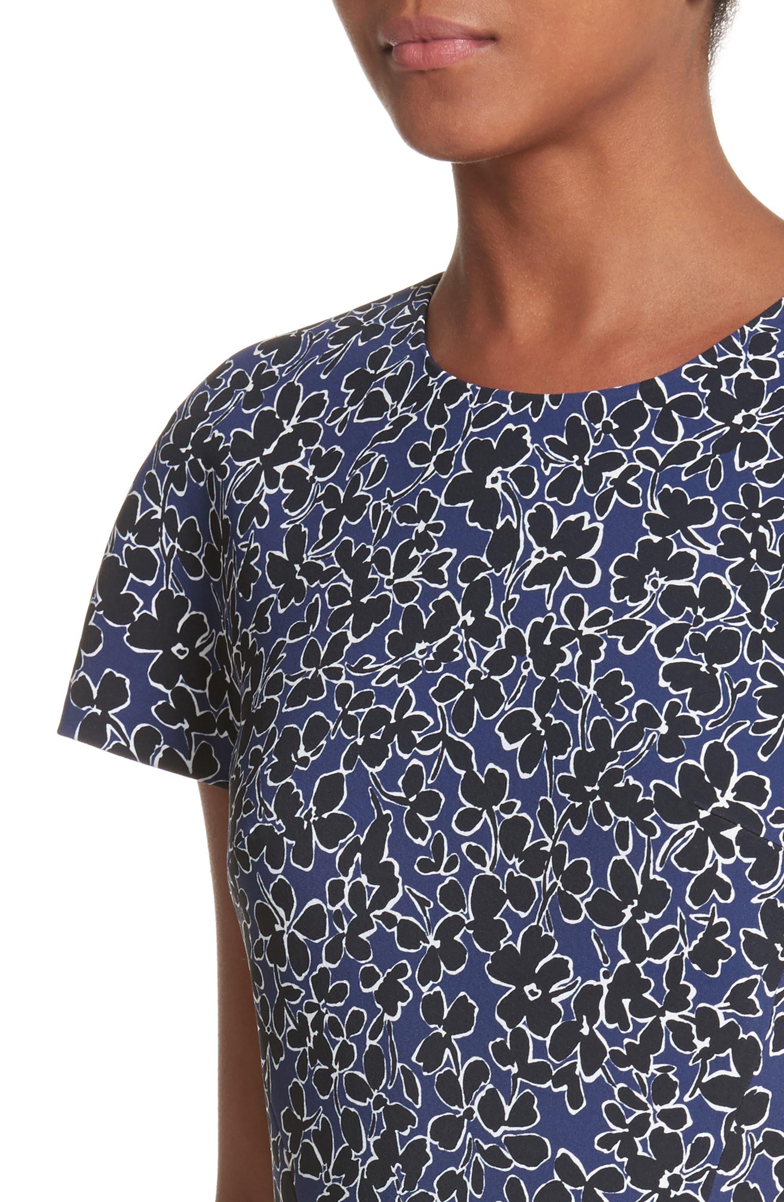 Floral T-Shirt Sheath Dress,                             Alternate thumbnail 4, color,                             Sapphire