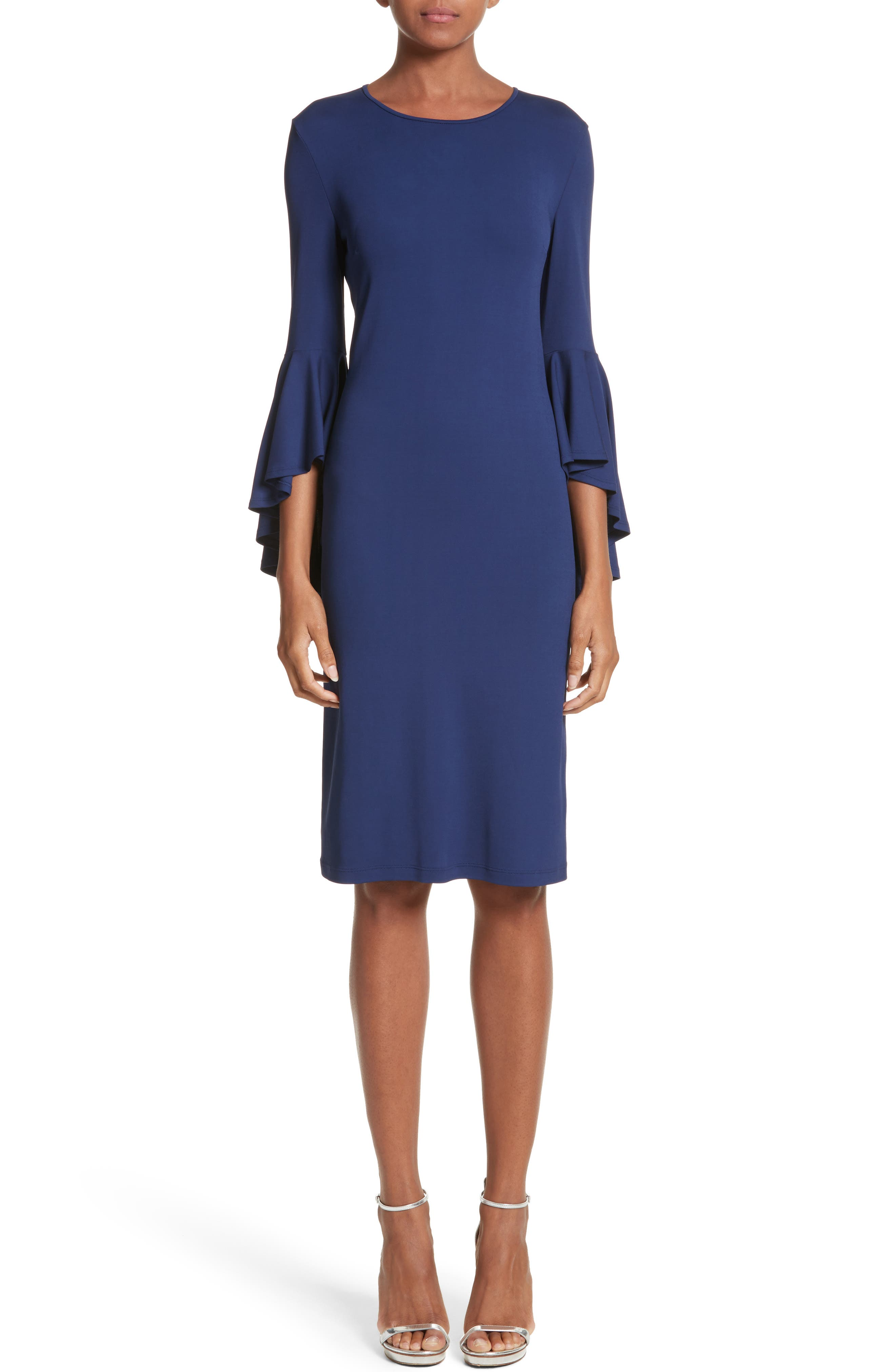 Cascade Sleeve Sheath Dress,                             Main thumbnail 1, color,                             Sapphire