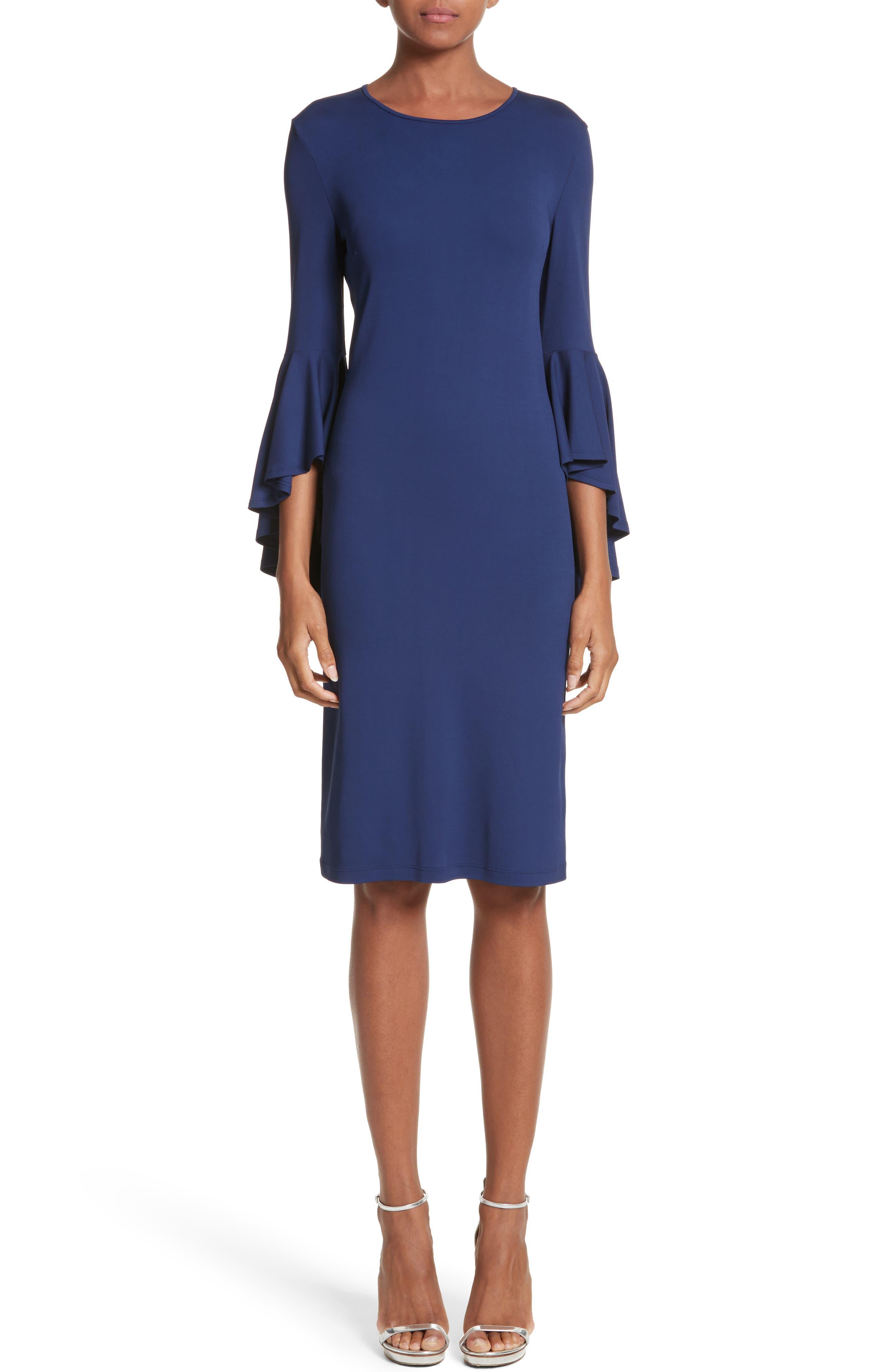 Cascade Sleeve Sheath Dress,                         Main,                         color, Sapphire