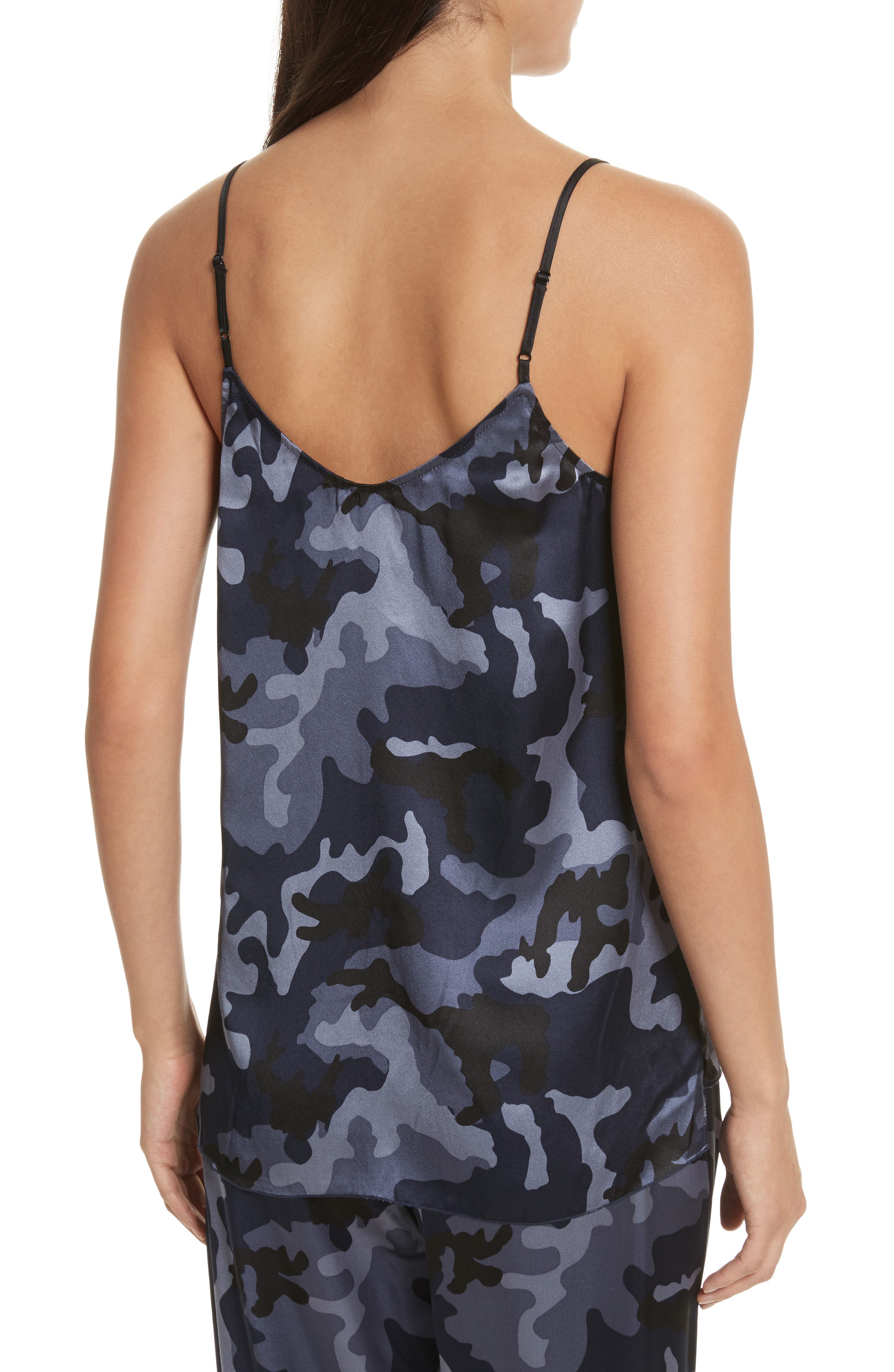 Camo Garment Washed Silk Tank,                             Alternate thumbnail 2, color,                             Blue Camo